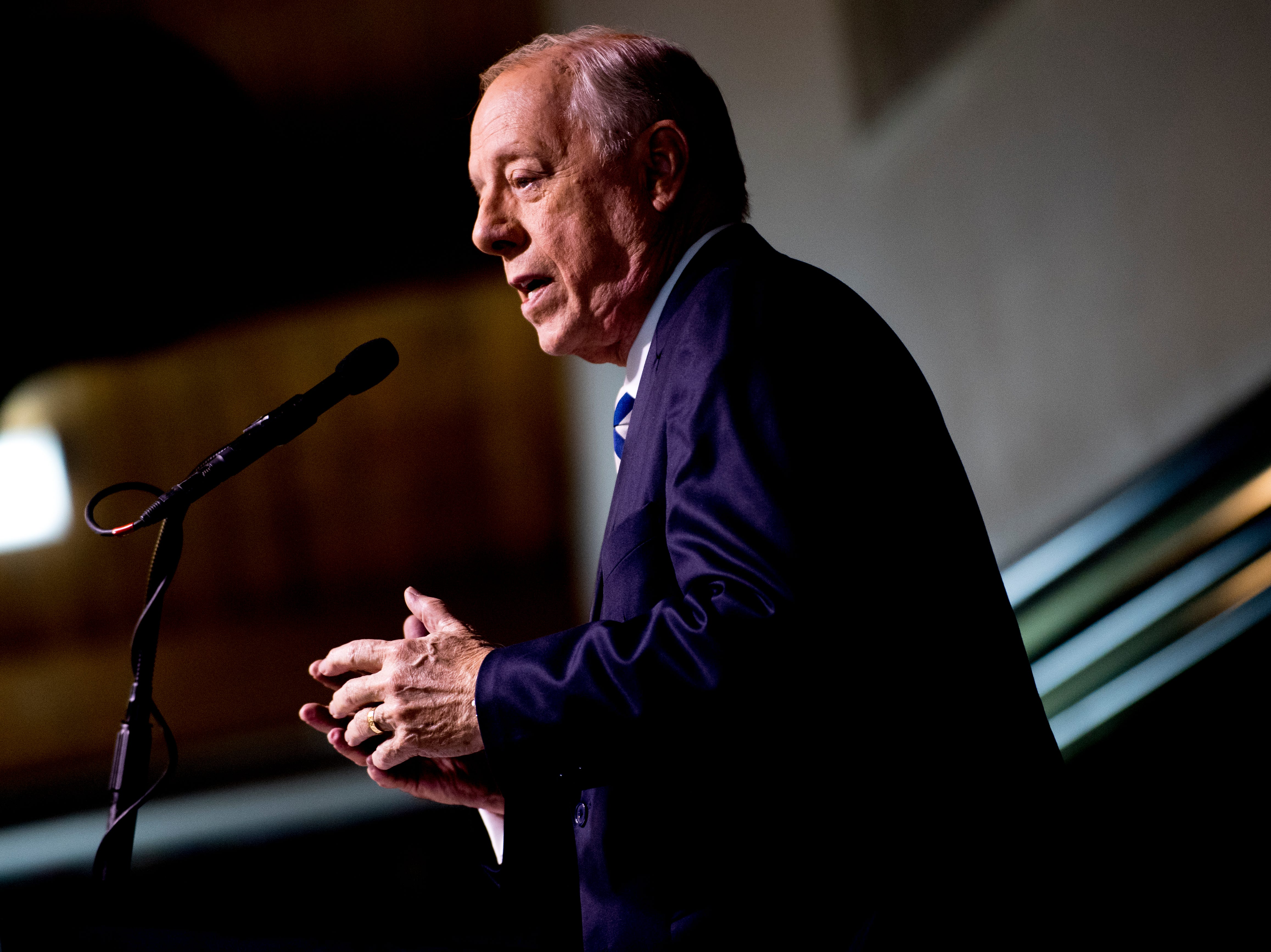 """Former Governor Phil Bredesen speaks during an """"Doing Better Together"""" Interfaith Lunch at the Bessie Smith Cultural Center in Chattanooga, Tennessee on Sunday, November 4, 2018. Former Governor Phil Bredesen, candidate for U.S. Senate, hosted the event to discuss the future of Tennessee and America."""
