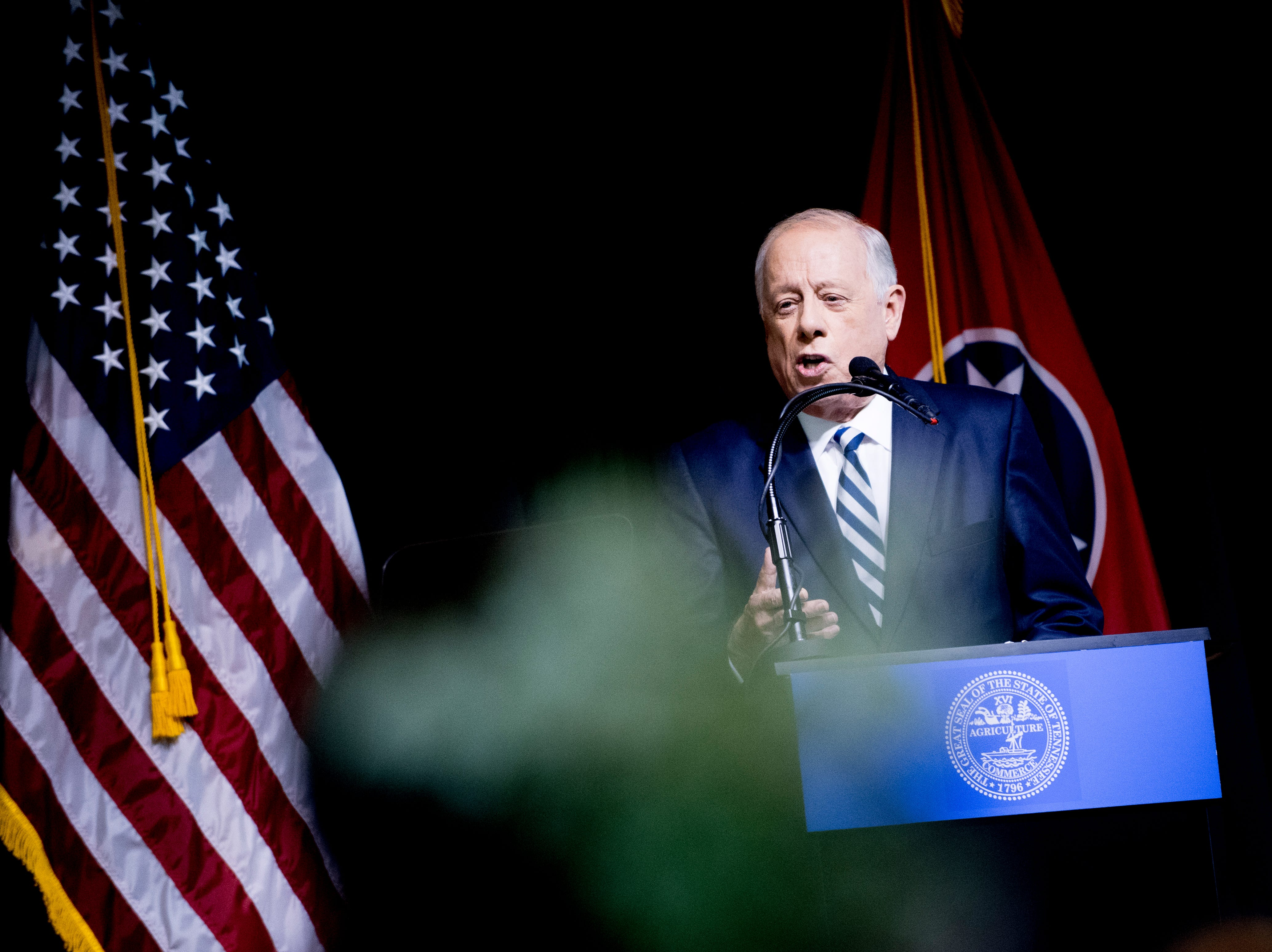 "Former Governor Phil Bredesen speaks during an ""Doing Better Together"" Interfaith Lunch at the Bessie Smith Cultural Center in Chattanooga, Tennessee on Sunday, November 4, 2018. Former Governor Phil Bredesen, candidate for U.S. Senate, hosted the event to discuss the future of Tennessee and America."
