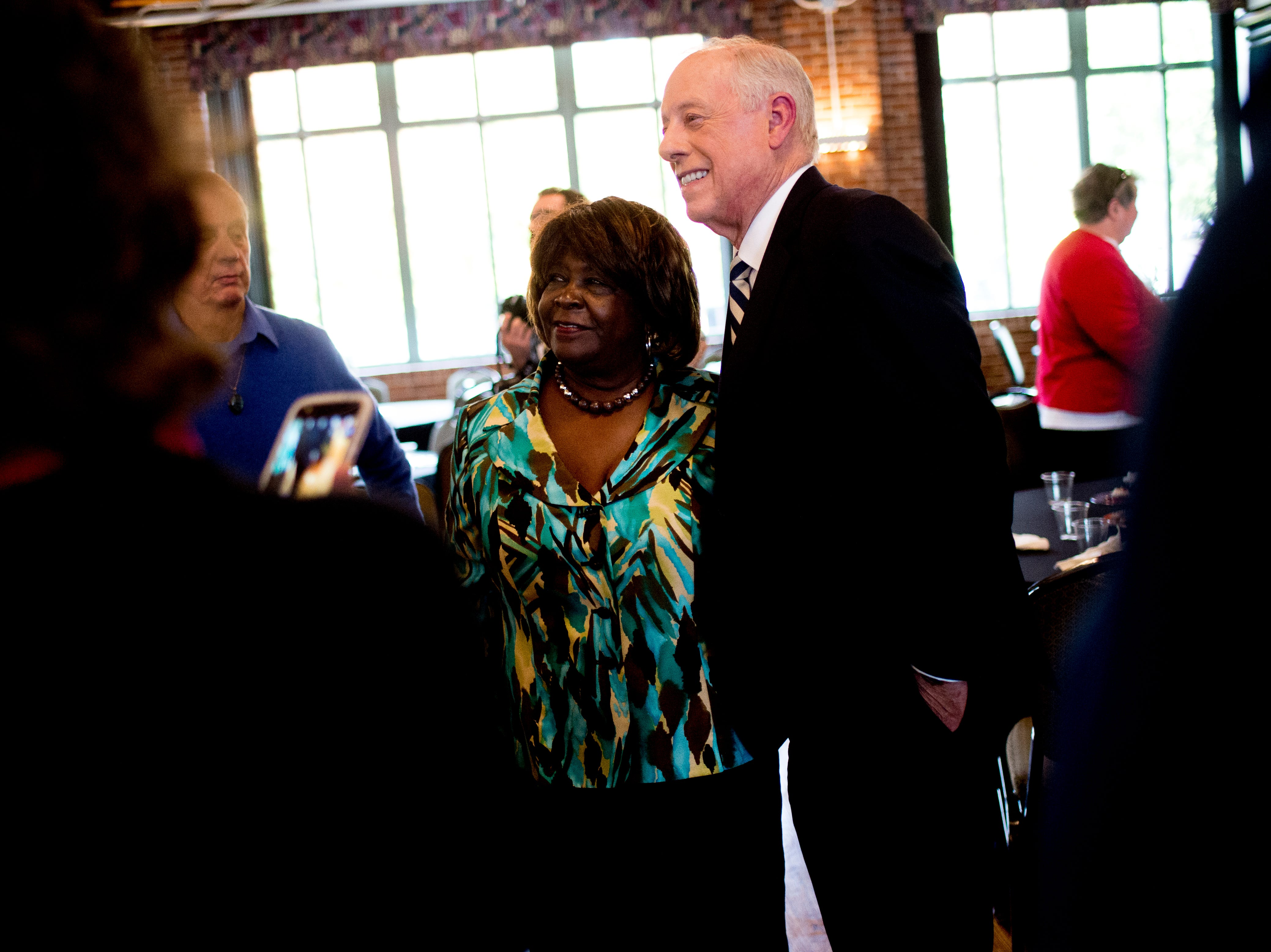 "Former Governor Phil Bredesen takes a photo with Menia Richardson, of Chattanooga, during an ""Doing Better Together"" Interfaith Lunch at the Bessie Smith Cultural Center in Chattanooga, Tennessee on Sunday, November 4, 2018. Former Governor Phil Bredesen, candidate for U.S. Senate, hosted the event to discuss the future of Tennessee and America."
