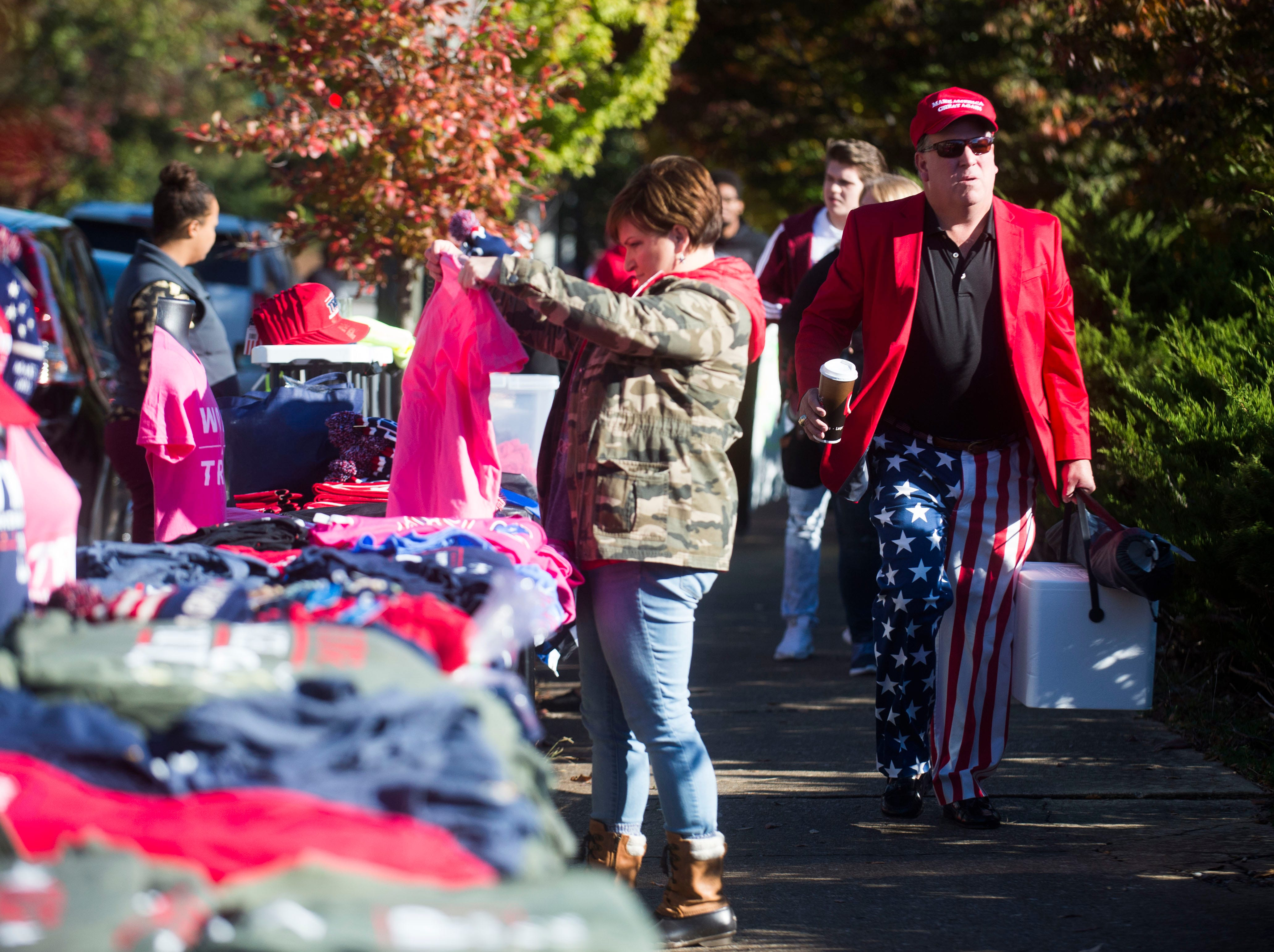 Trump supporters gather before a Donald Trump rally in support of U.S. Rep. Marsha Blackburn for the U.S. Senate at McKenzie Arena in Chattanooga, Sunday, Nov. 4, 2018.