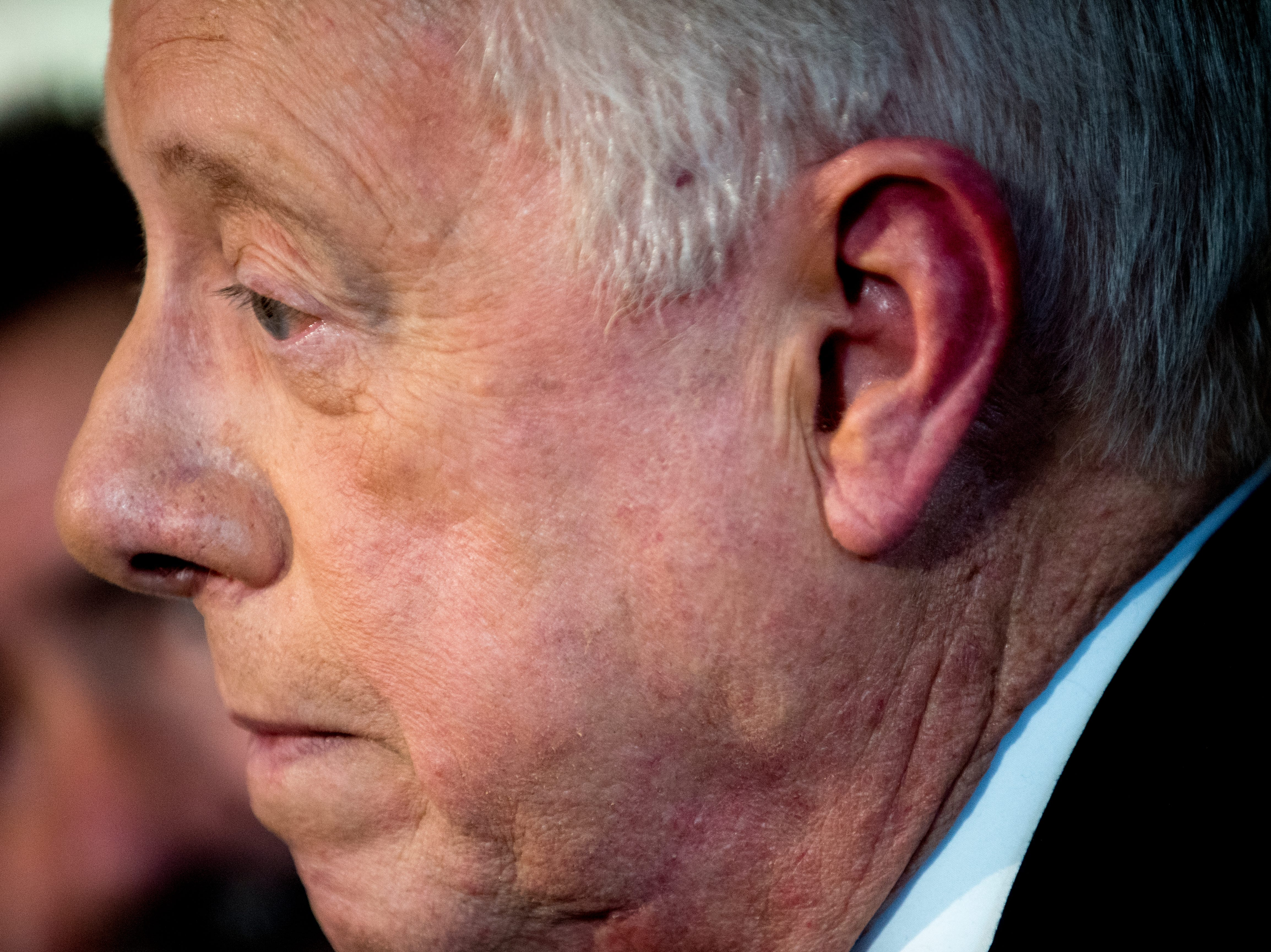"""Former Governor Phil Bredesen speaks with the media during an """"Doing Better Together"""" Interfaith Lunch at the Bessie Smith Cultural Center in Chattanooga, Tennessee on Sunday, November 4, 2018. Former Governor Phil Bredesen, candidate for U.S. Senate, hosted the event to discuss the future of Tennessee and America."""