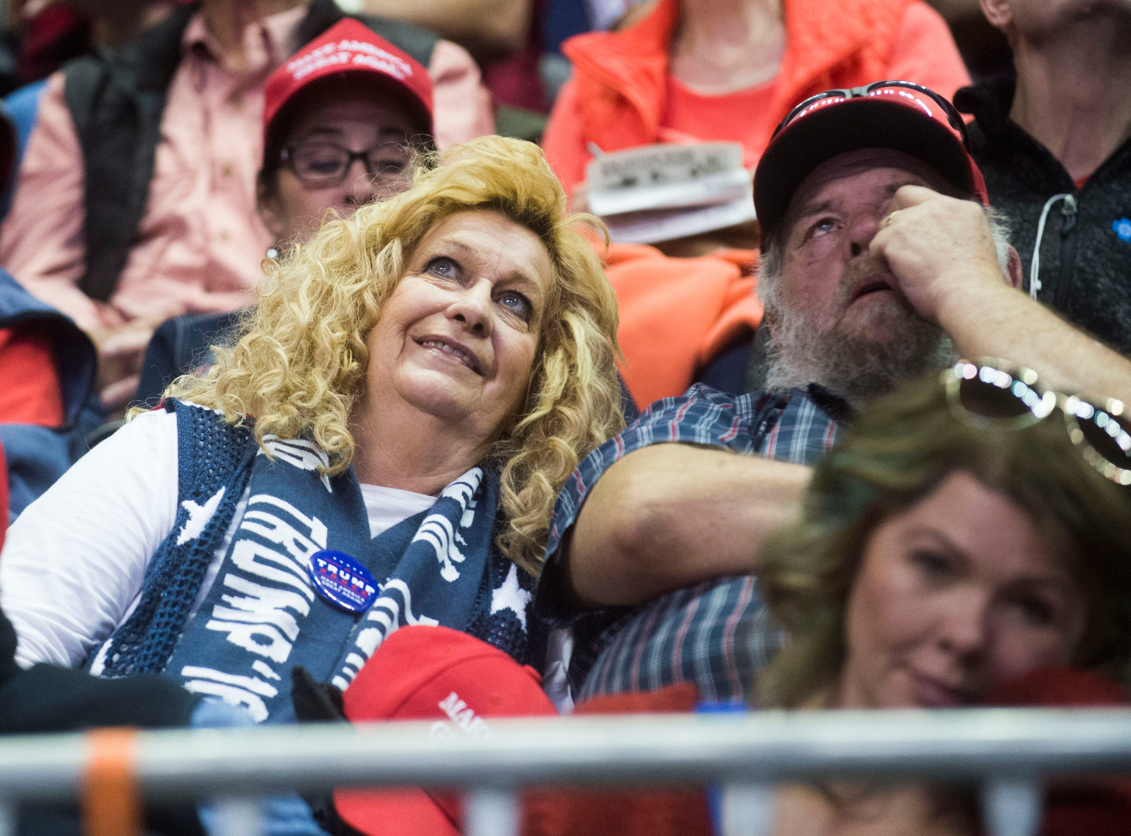 Donald Trump supporters sit in the arena before a Donald Trump rally in support of U.S. Rep. Marsha Blackburn for the U.S. Senate at McKenzie Arena in Chattanooga, Sunday, Nov. 4, 2018.