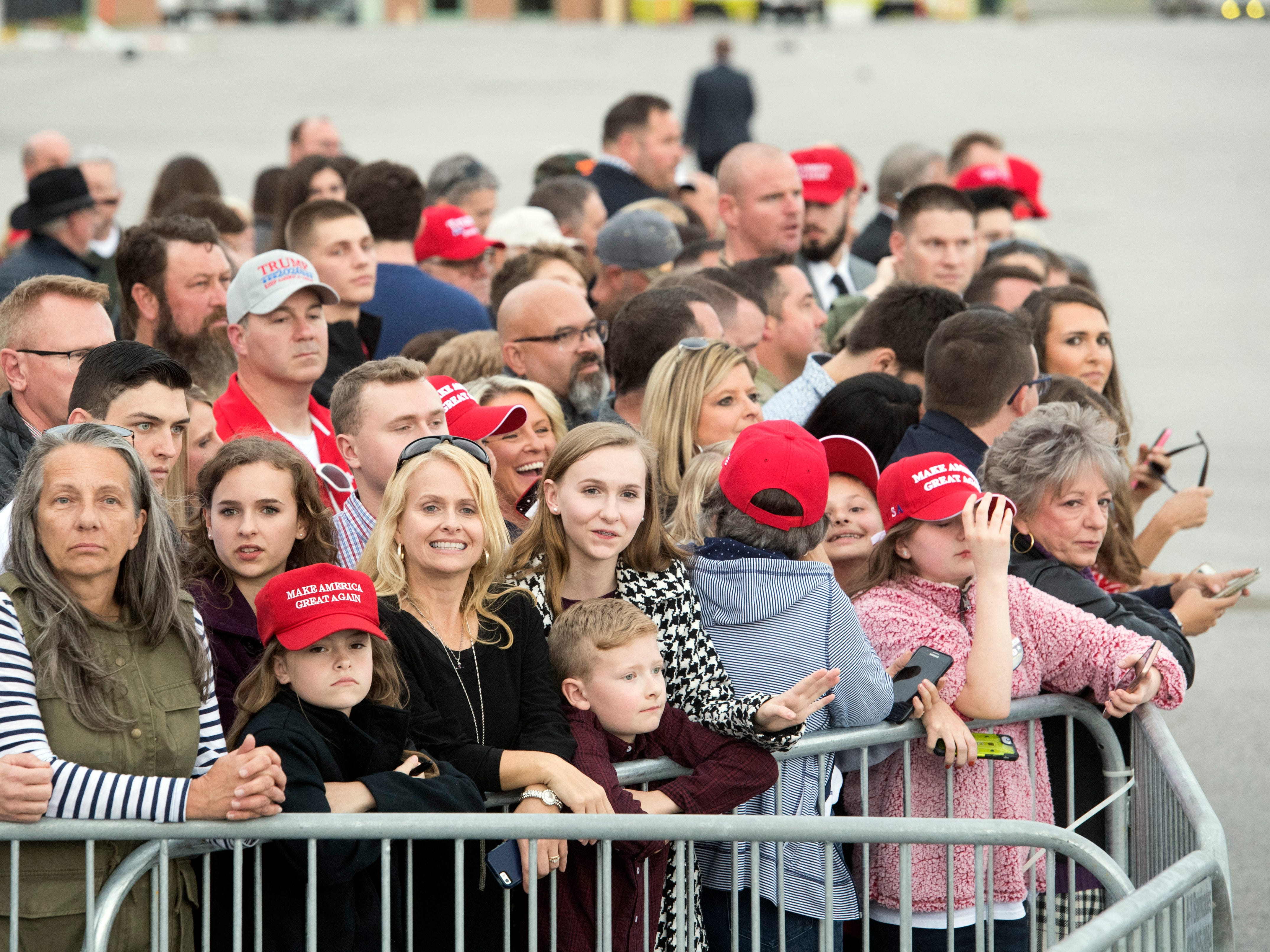 About 300 guests were invited to attend the arrival of President Donald Trump at Wilson Air Center at the Chattanooga Metropolitan Airport on Sunday, November 4, 2018.