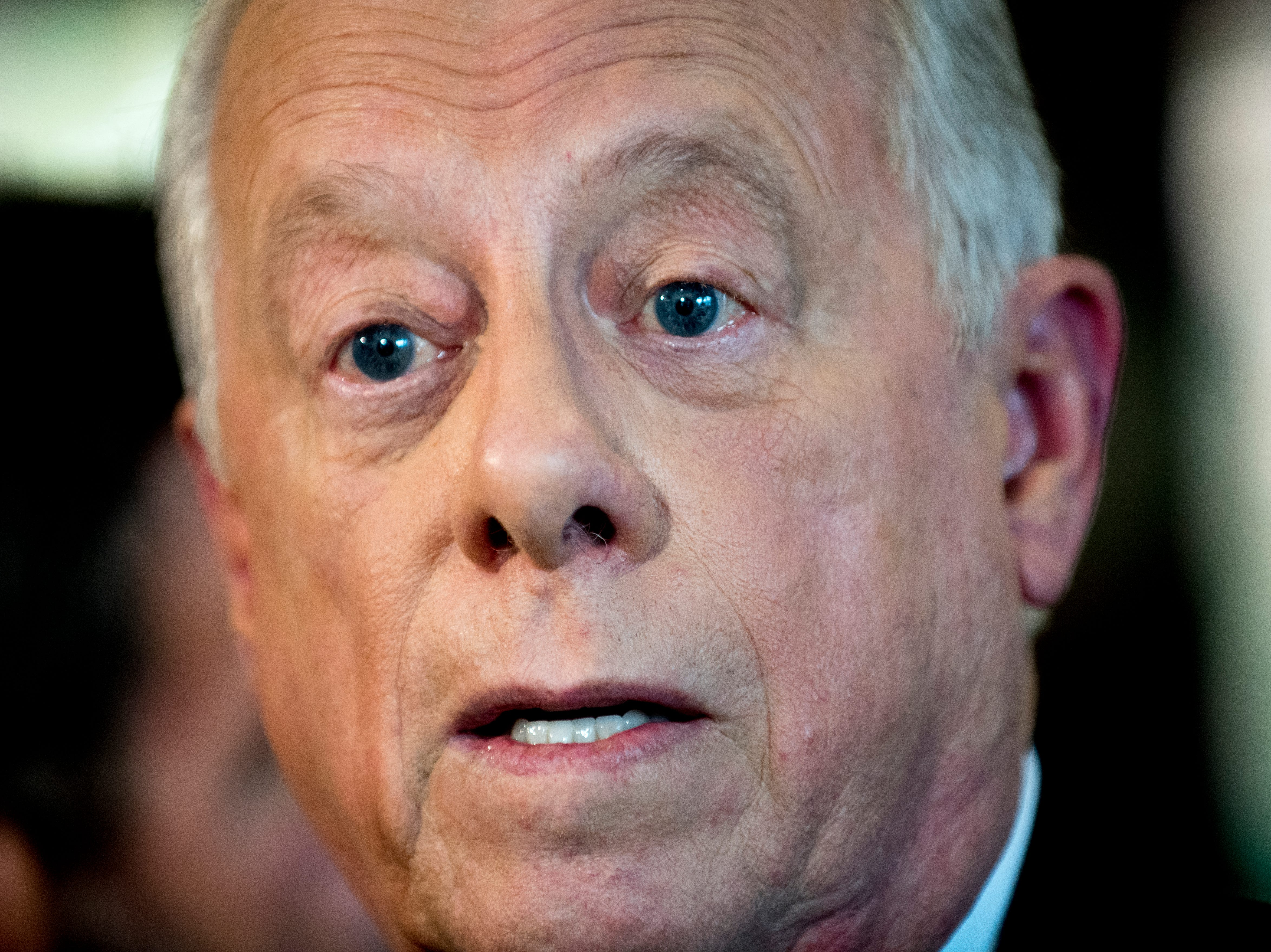 "Former Governor Phil Bredesen speaks with the media during an ""Doing Better Together"" Interfaith Lunch at the Bessie Smith Cultural Center in Chattanooga, Tennessee on Sunday, November 4, 2018. Former Governor Phil Bredesen, candidate for U.S. Senate, hosted the event to discuss the future of Tennessee and America."