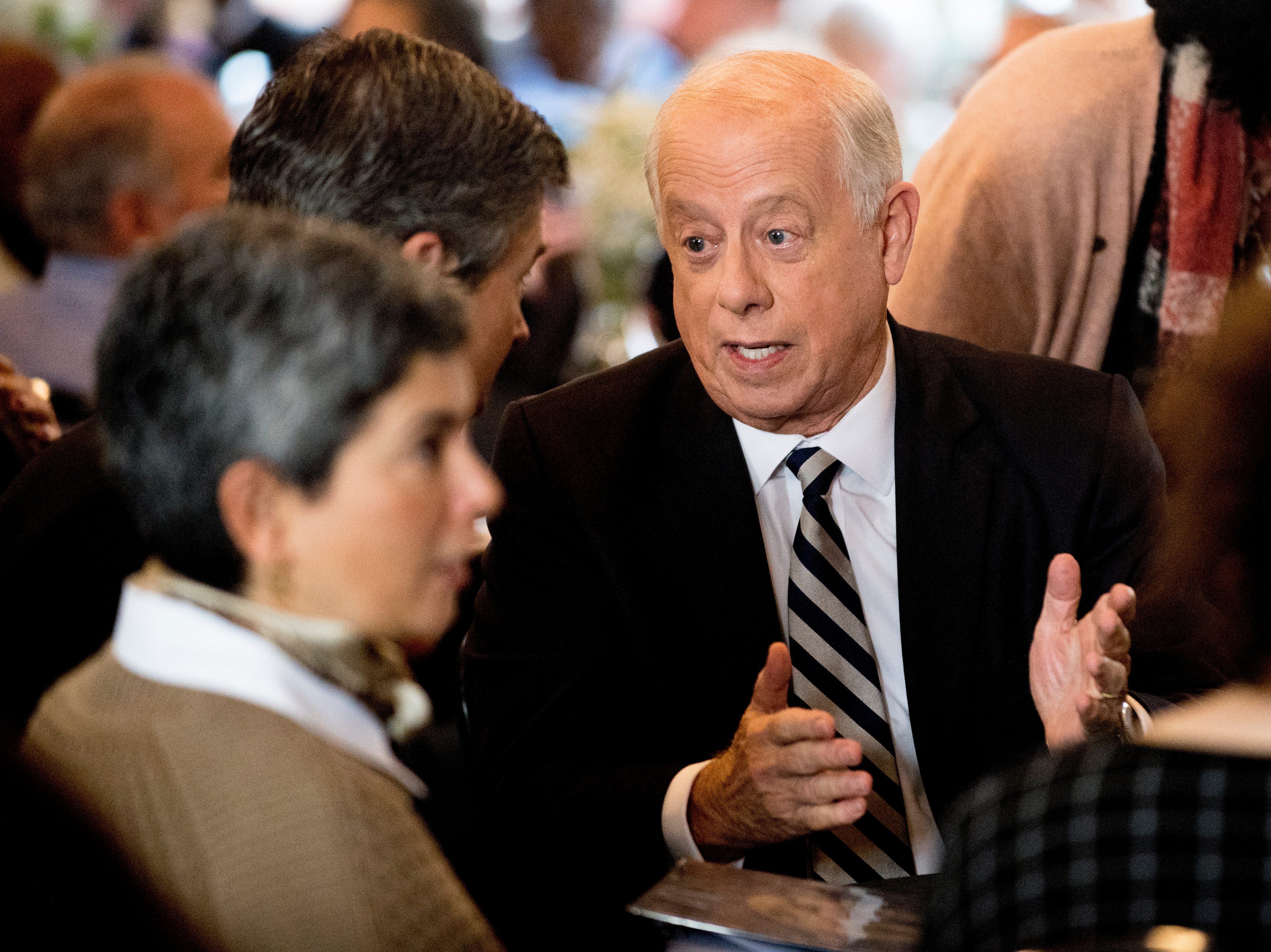 """Former Governor Phil Bredesen chats with Chattanooga Mayor Andy Berke during an """"Doing Better Together"""" Interfaith Lunch at the Bessie Smith Cultural Center in Chattanooga, Tennessee on Sunday, November 4, 2018. Former Governor Phil Bredesen, candidate for U.S. Senate, hosted the event to discuss the future of Tennessee and America."""
