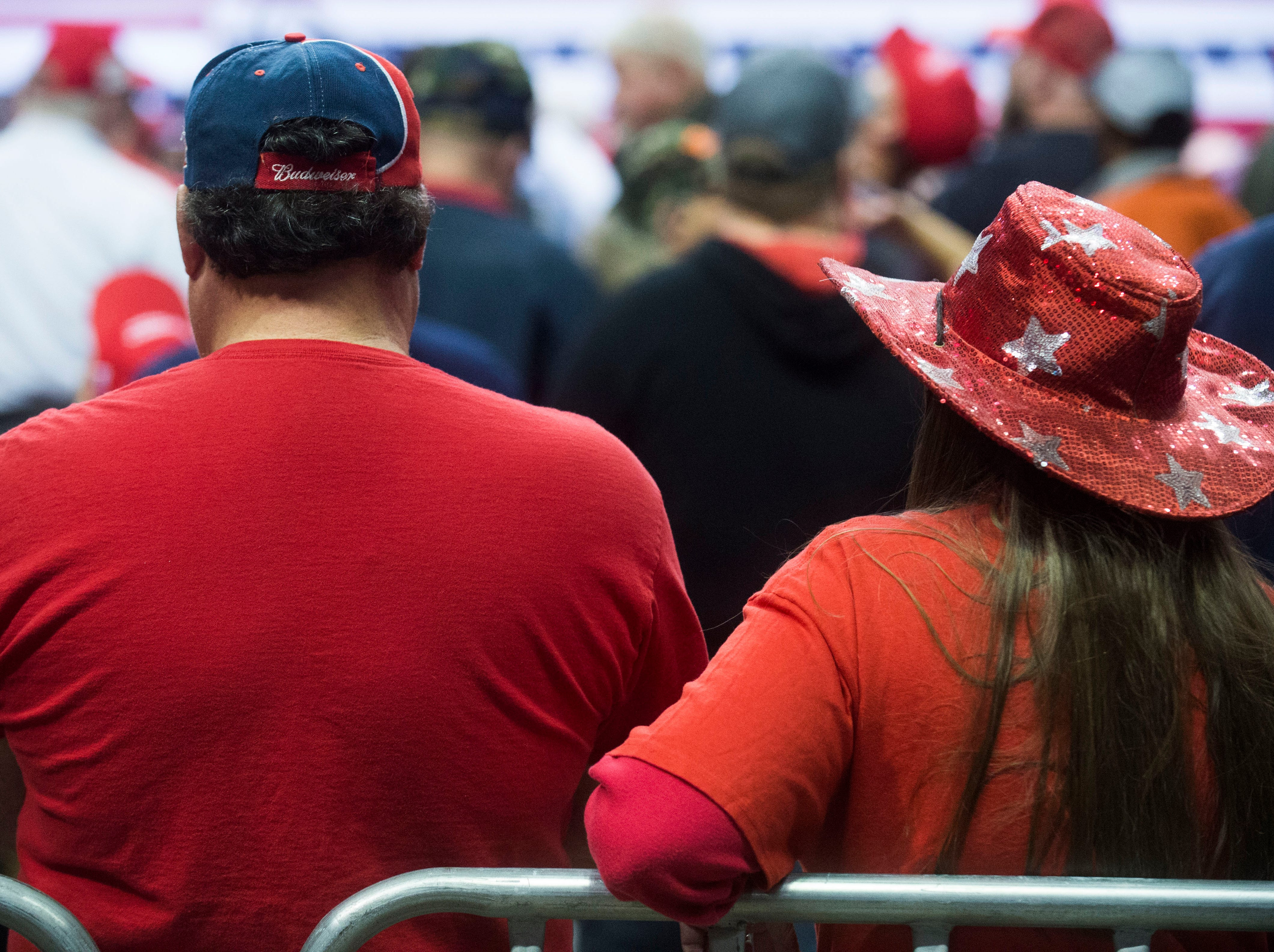 President Trump supporters wait before a Donald Trump rally in support of U.S. Rep. Marsha Blackburn for the U.S. Senate at McKenzie Arena in Chattanooga, Sunday, Nov. 4, 2018.