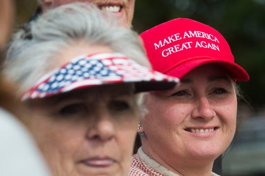 Trump supporters at the front of the line wait before a Donald Trump rally in support of U.S. Rep. Marsha Blackburn for the U.S. Senate at McKenzie Arena in Chattanooga, Sunday, Nov. 4, 2018.
