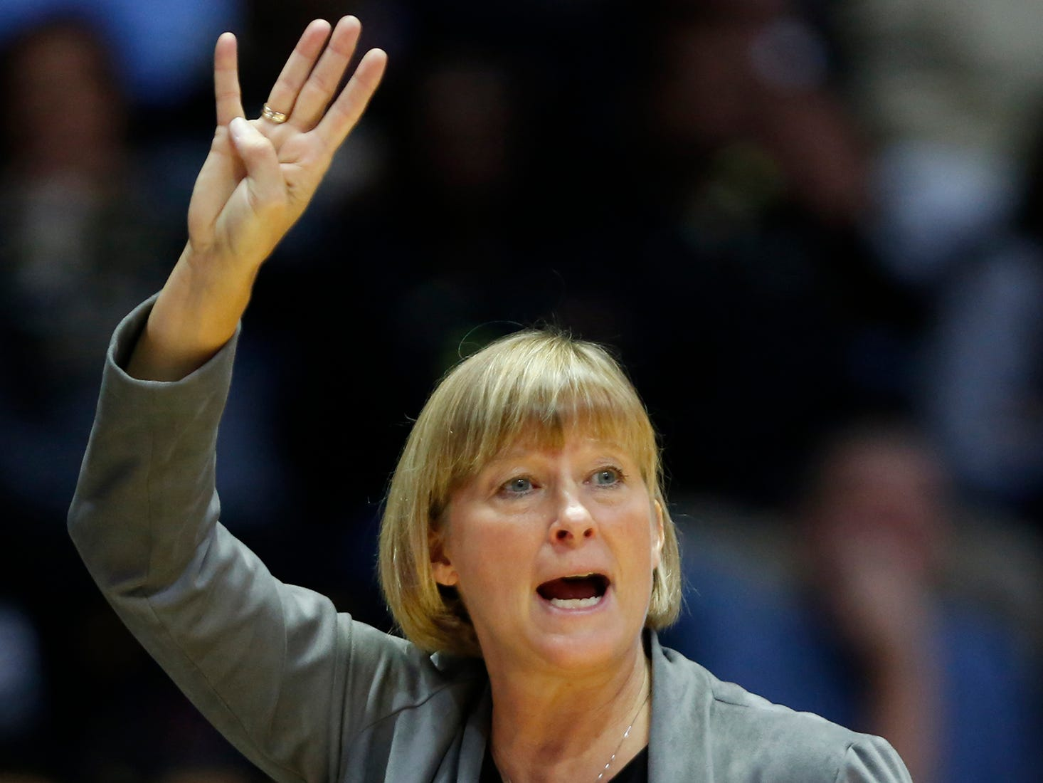 Purdue head coach Sharon Versyp shouts instructions as the Boilermakers battle Ashland Sunday, November 4, 2018, at Mackey Arena. Purdue defeated Ashland 85-69.