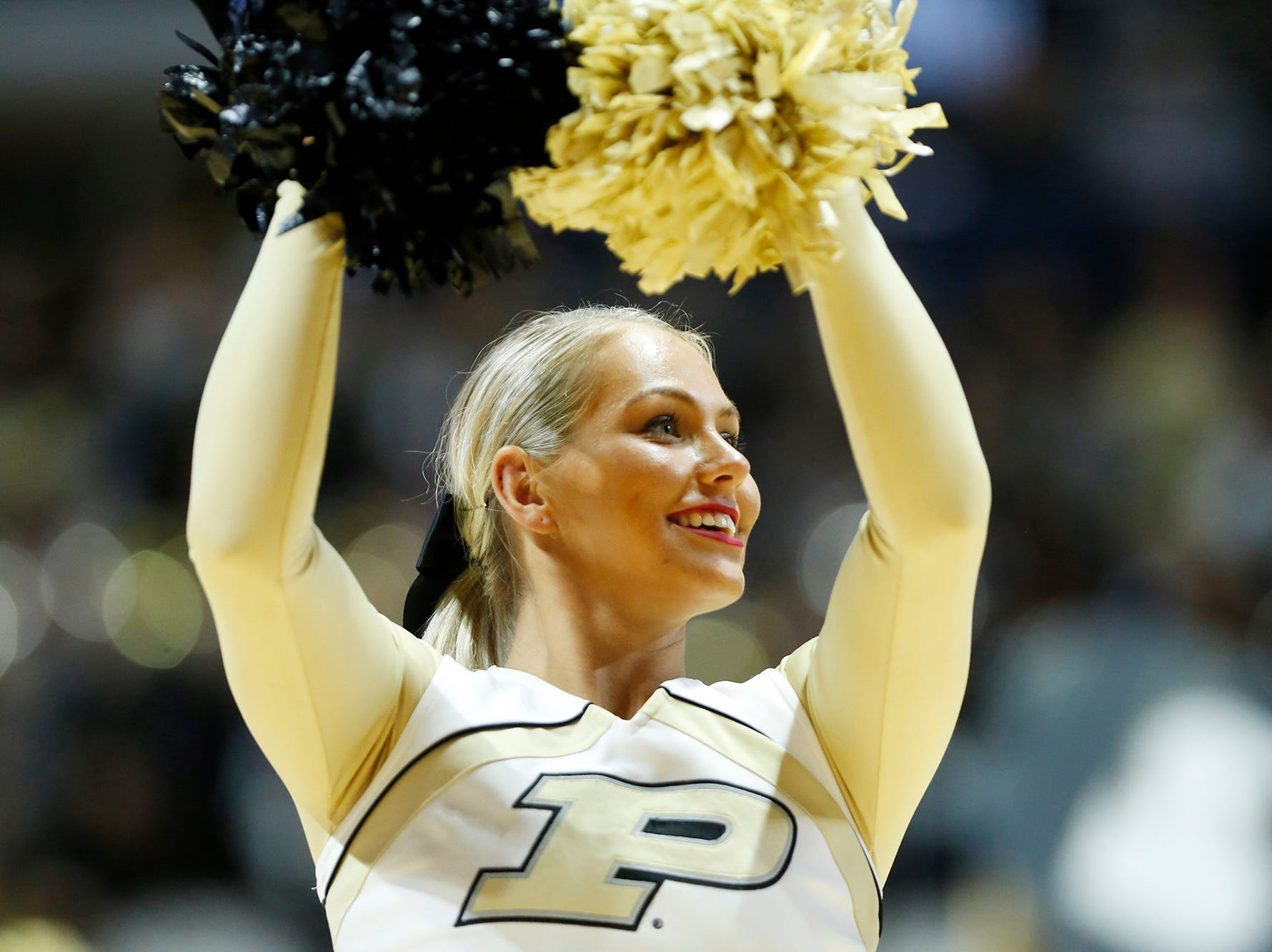 Purdue cheerleaders entertain during a timeout as the Boilermakers face Ashland Sunday, November 4, 2018, at Mackey Arena. Purdue defeated Ashland 85-69.