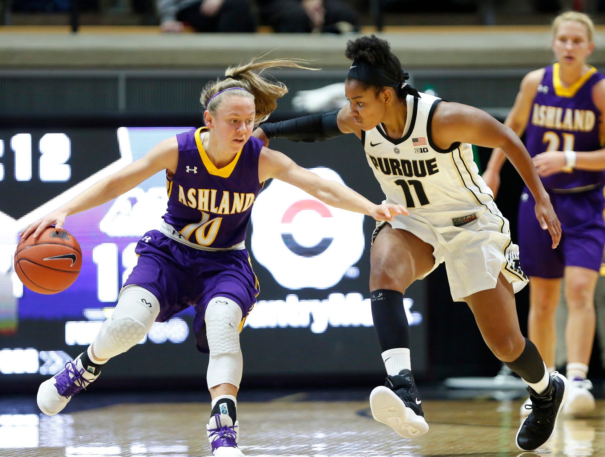 Dominique Oden of pressures Hallie Heidemann of Ashland Sunday, November 4, 2018, at Mackey Arena. Purdue defeated Ashland 85-69.