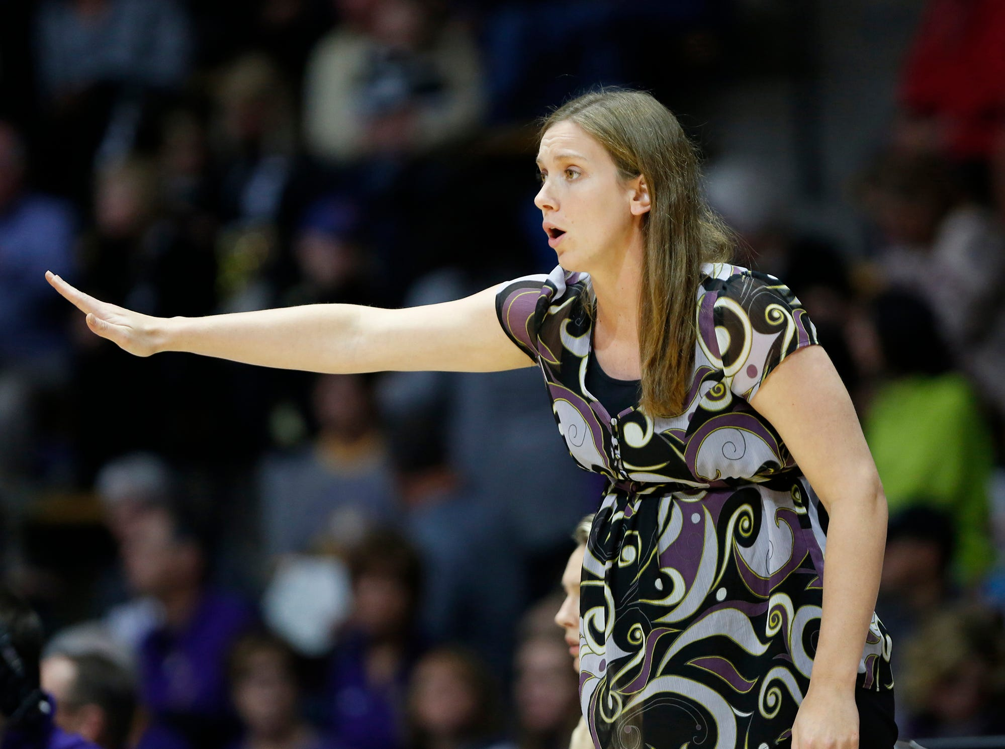 Ashland head coach Kari Pickens shouts instructions to the Eagles as they face Purdue Sunday, November 4, 2018, at Mackey Arena. Purdue defeated Ashland 85-69.