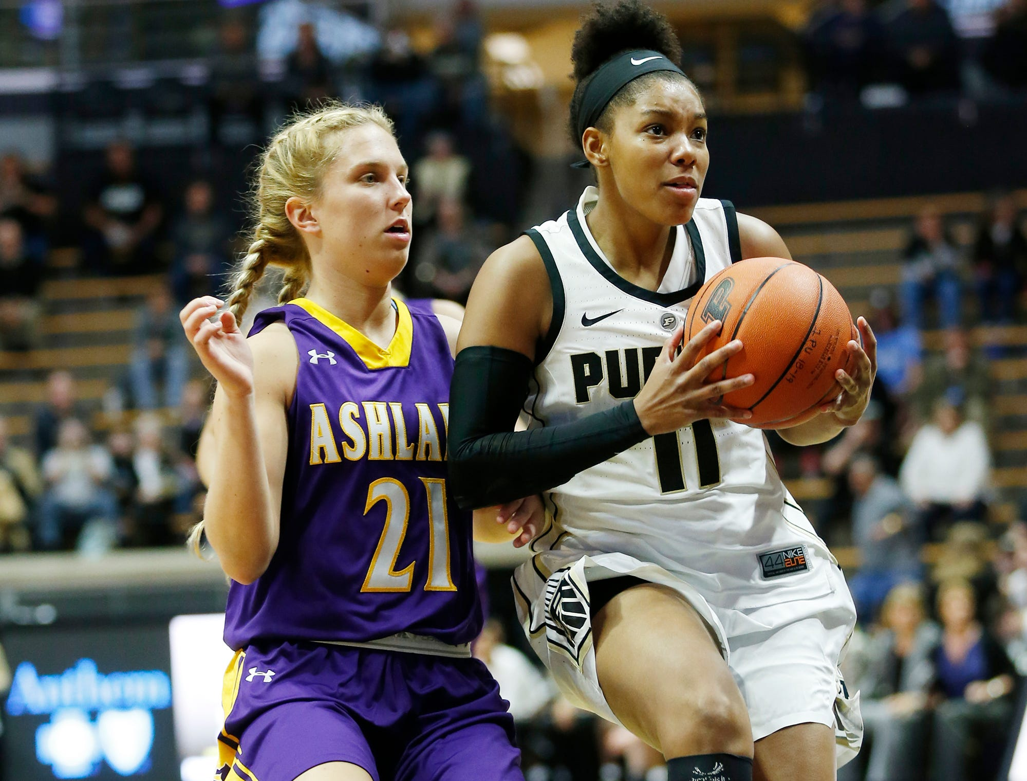 Dominique Oden of Purdue drives past Jodi Johnson of Ashland Sunday, November 4, 2018, at Mackey Arena.