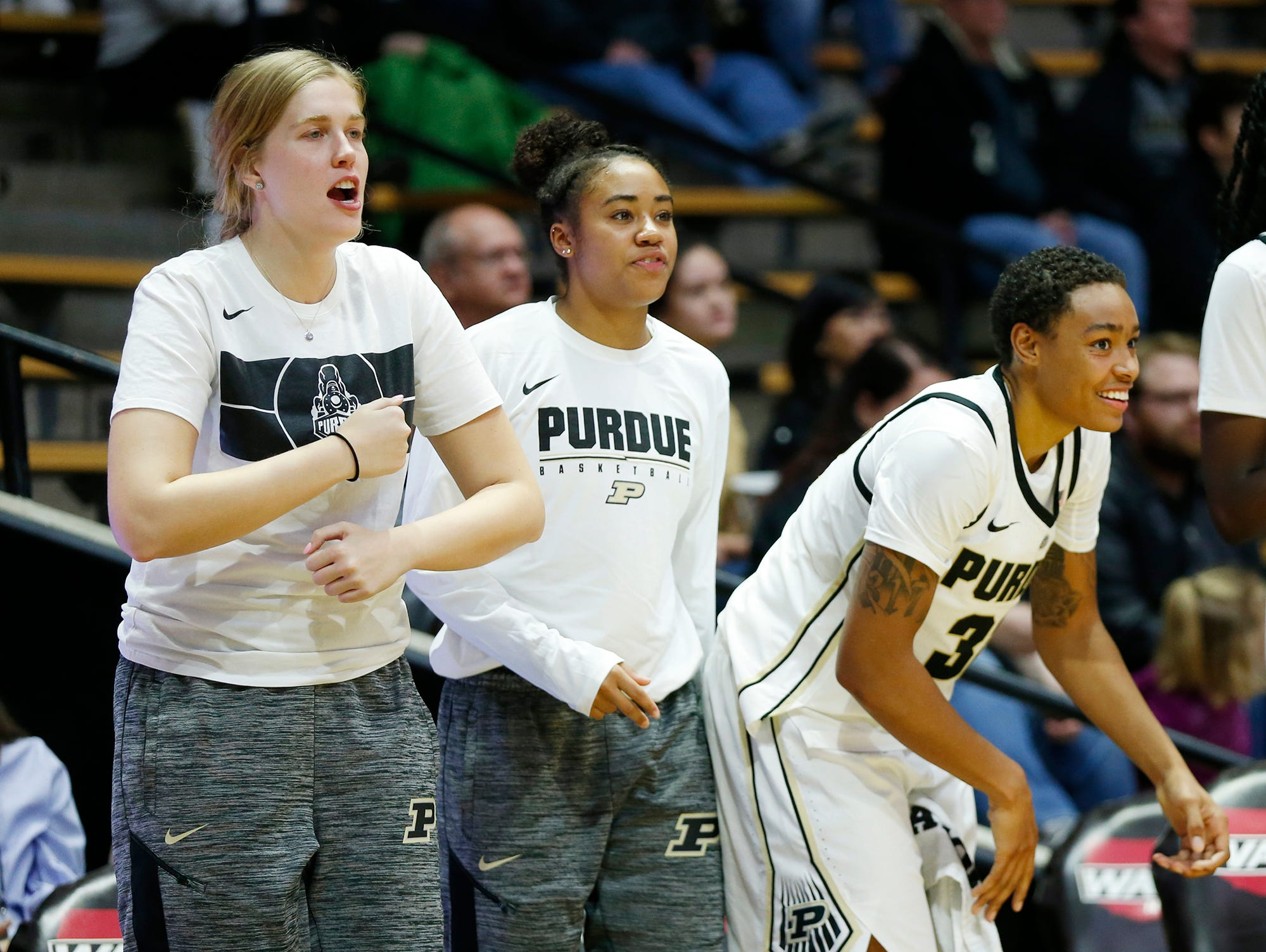 Players on the Purdue bench cheer as the Boilermakers begin to pull away late against Ashland Sunday, November 4, 2018, at Mackey Arena. Purdue defeated Ashland 85-69.