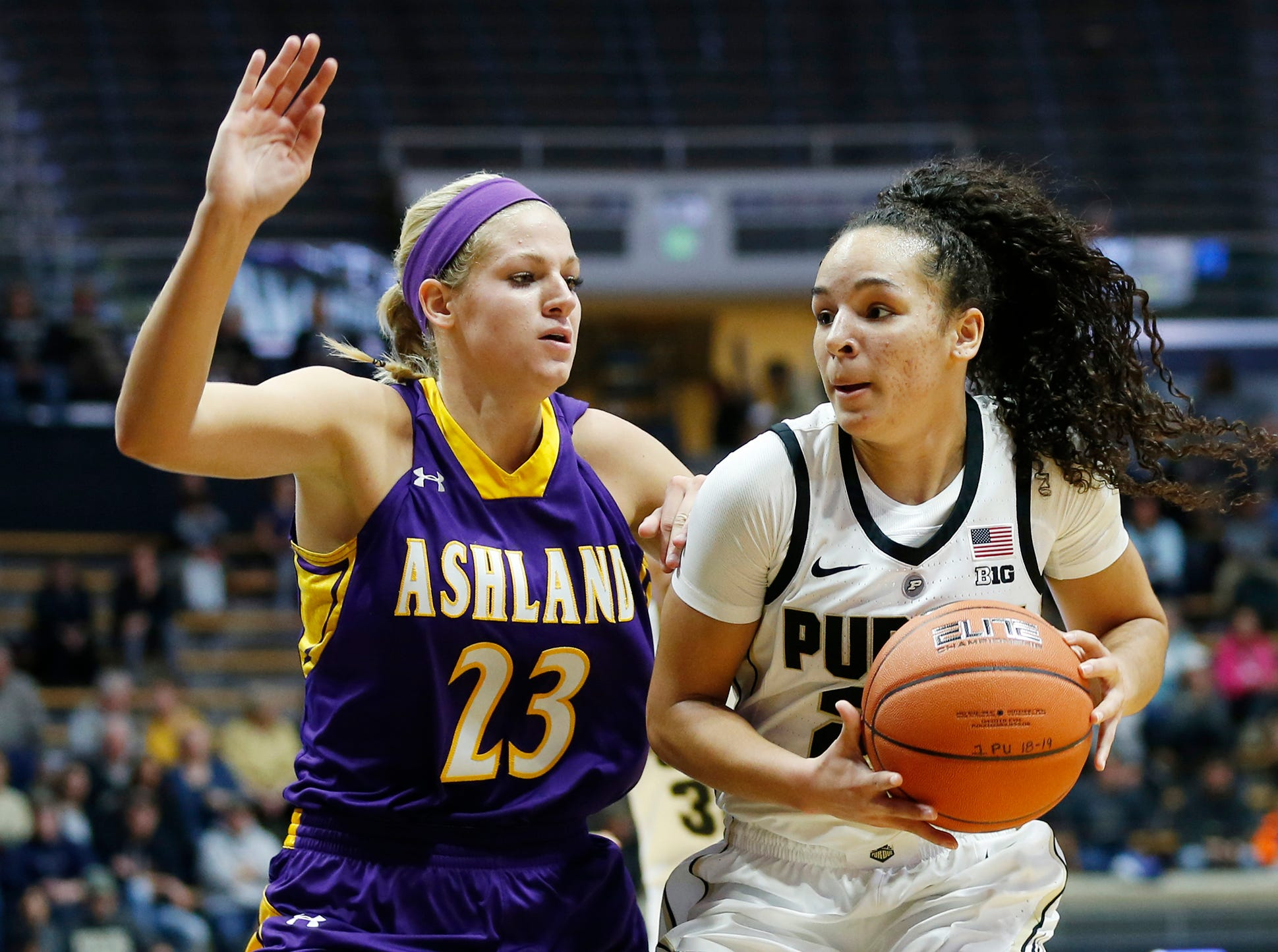 Kayana Traylor of Purdue drives into the lane against Sara Loomis of Ashland Sunday, November 4, 2018, at Mackey Arena. Purdue defeated Ashland 85-69.
