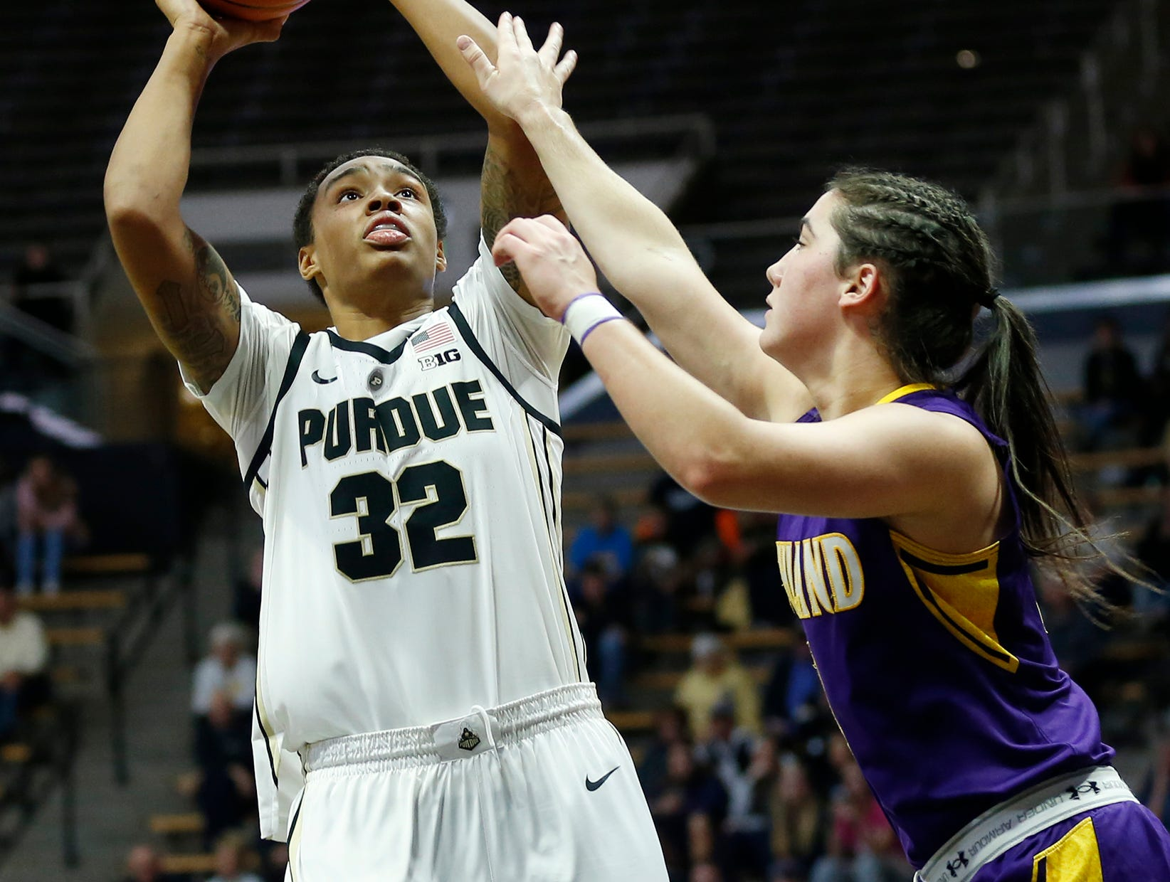 Ae'Rianna Harris of Purdue with a shot over Renee Stimpert of Ashland Sunday, November 4, 2018, at Mackey Arena.