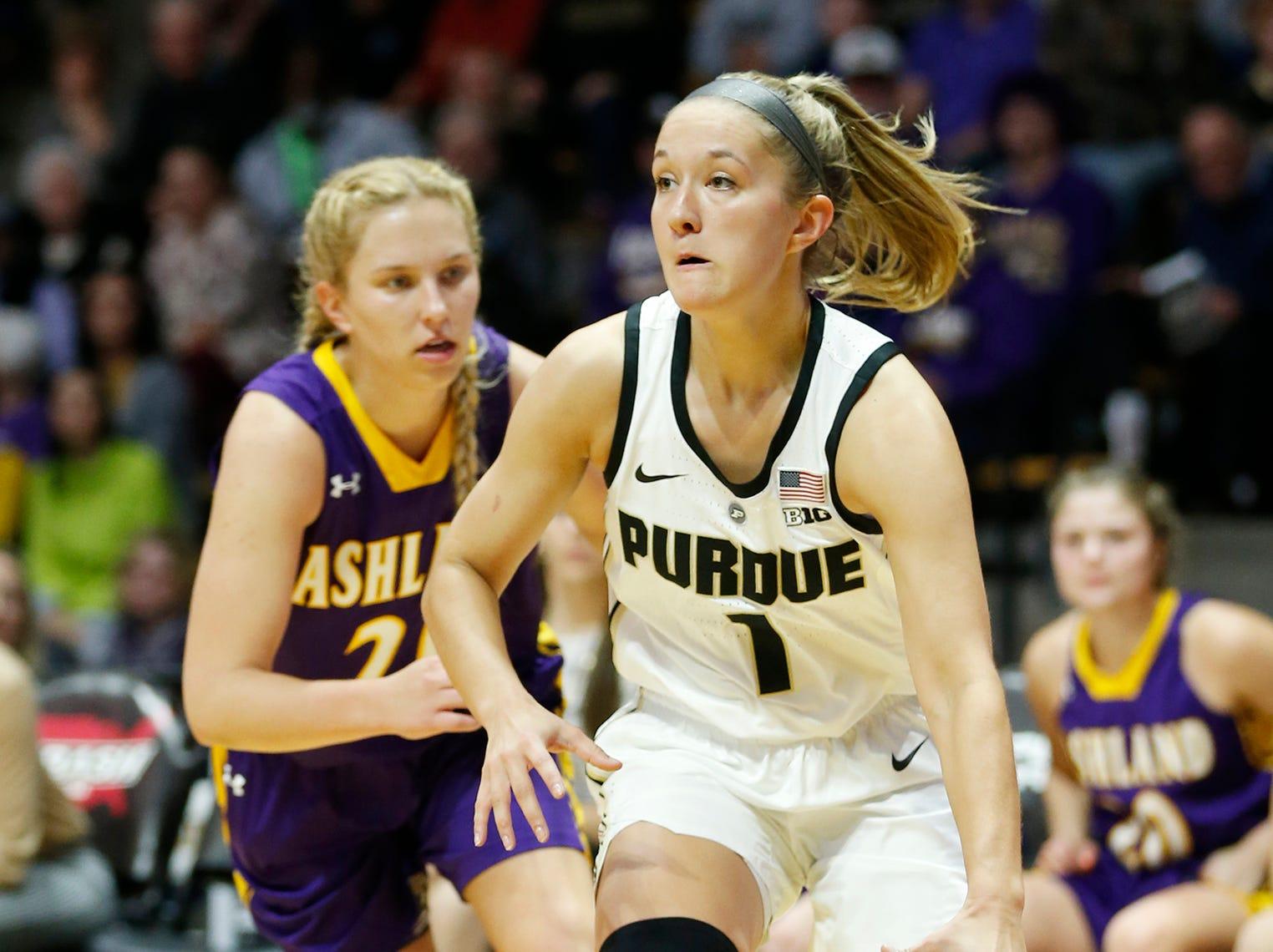Karissa McLaughlin of Purdue brings the ball up court against Ashland Sunday, November 4, 2018, at Mackey Arena. Purdue defeated Ashland 85-69.