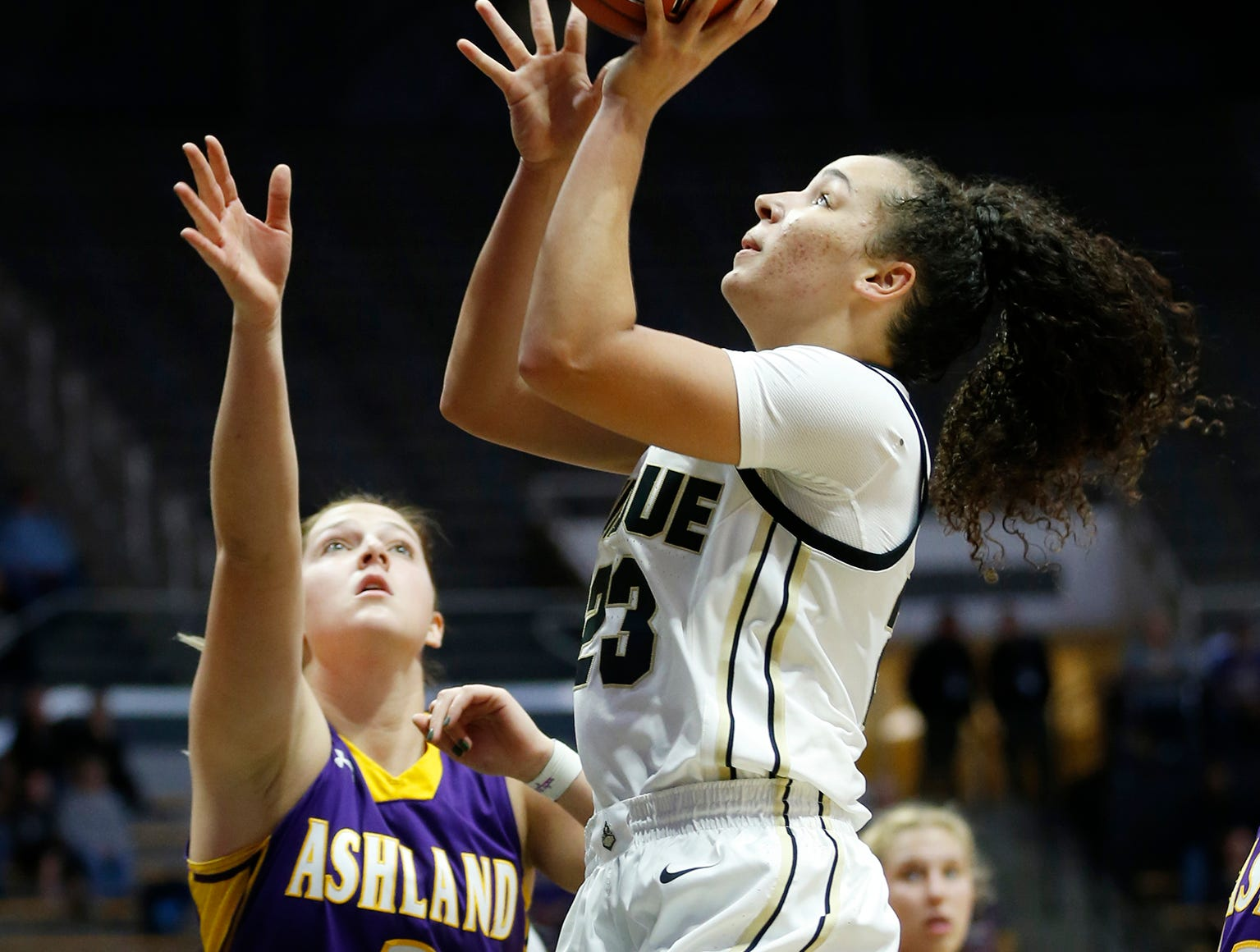 Kayana Traylor of Purdue with a shot over Sara Price of Ashland Sunday, November 4, 2018, at Mackey Arena. Purdue defeated Ashland 85-69.