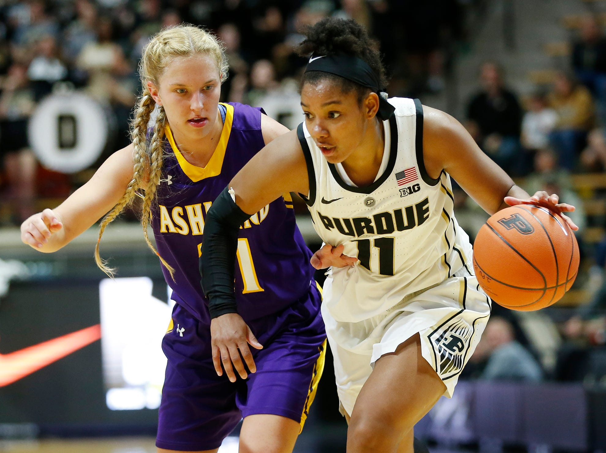 Dominique Oden of Purdue gets a step on Jodi Johnson of Ashland Sunday, November 4, 2018, at Mackey Arena. Purdue defeated Ashland 85-69.