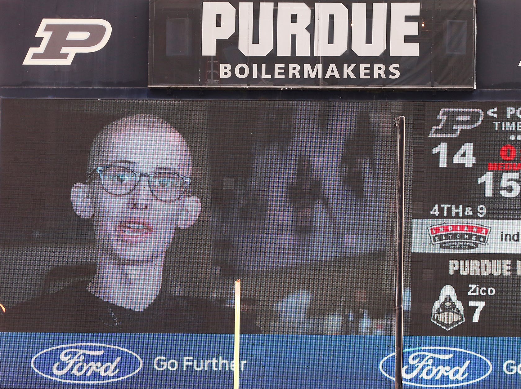 Purdue super fan Tyler Trent addresses the home field crowd from the video board Saturday, November 3, 2018, at Ross-Ade Stadium. Purdue defeated Iowa 38-36.