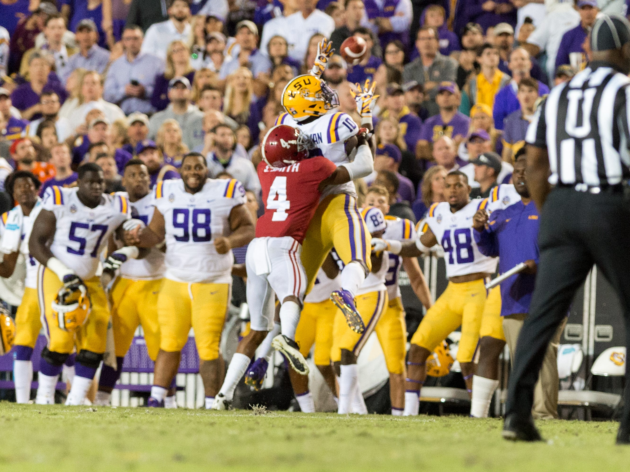Tigers receiver Stephen Sullivan catches a pass with tight coverage from Saivian Smith as the No. 4-ranked LSU Tigers take on the No. 1  Alabama Crimson Tide in Tiger Stadium Saturday, Nov. 3, 2018.