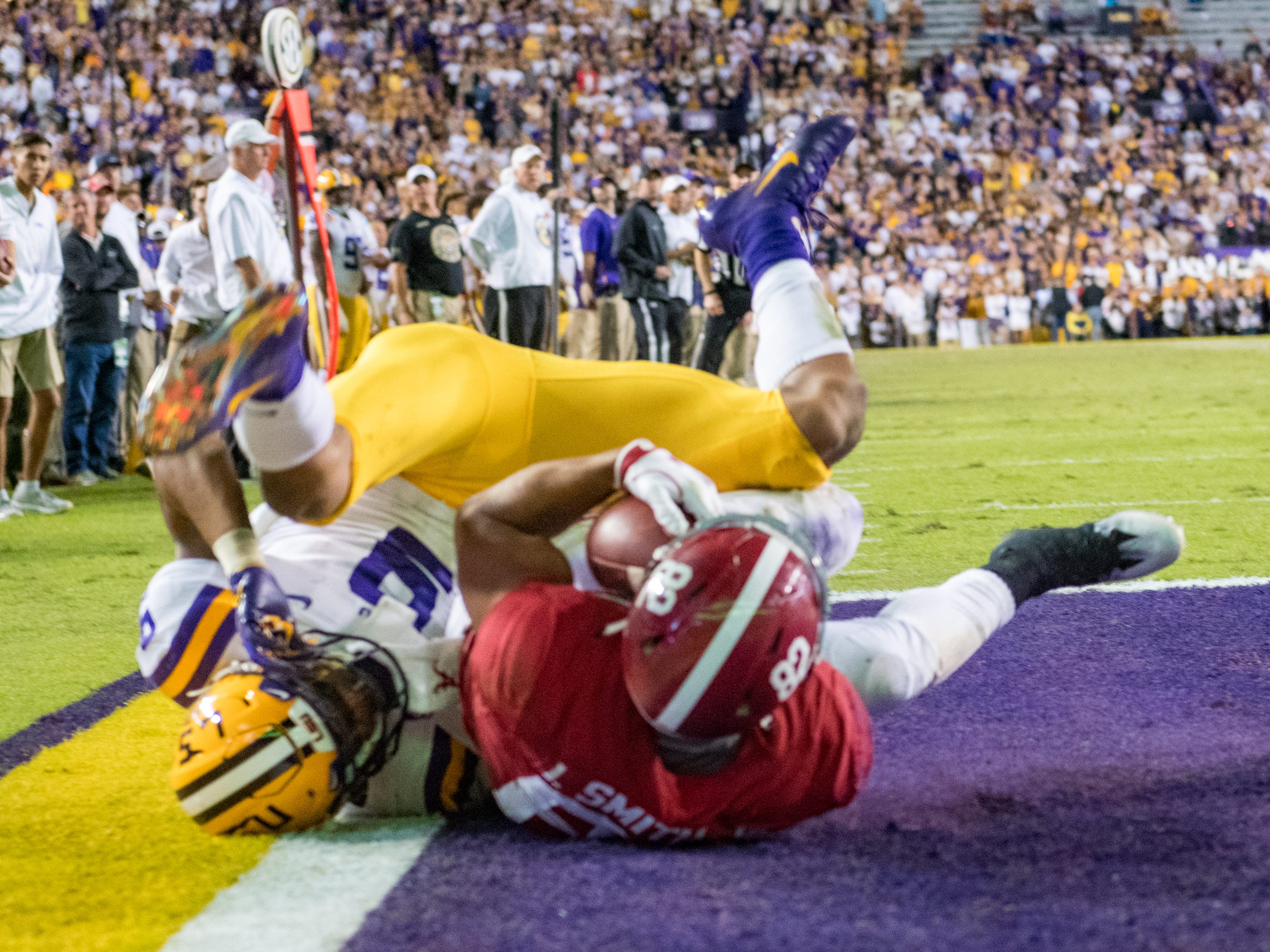 Alabamas Tight end Irv Smith makes a catch in the end zone to score as the No. 4-ranked LSU Tigers take on the No. 1  Alabama Crimson Tide in Tiger Stadium Saturday, Nov. 3, 2018.
