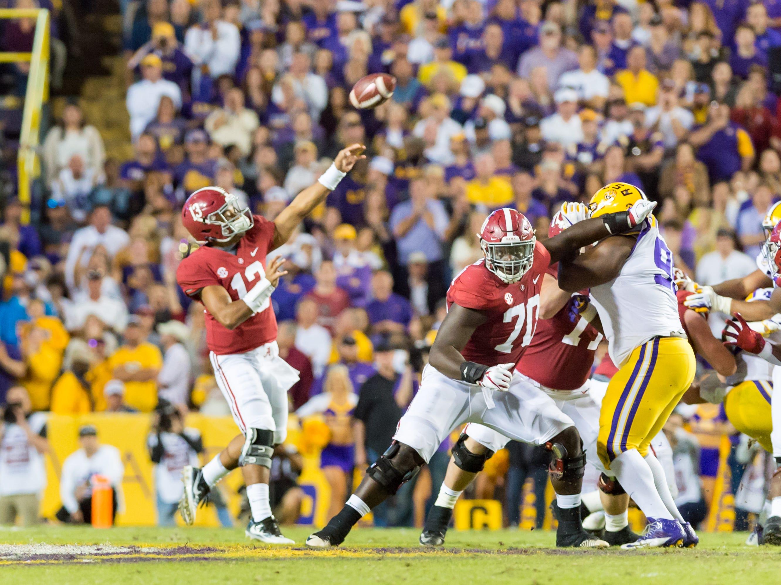 Alabama quarterback Tua Tagovaila throws a pass  as The #4 LSU Tigers take on the #1 ranked Alabama Crimson Tide in Tiger Stadium. Saturday, Nov. 3, 2018.