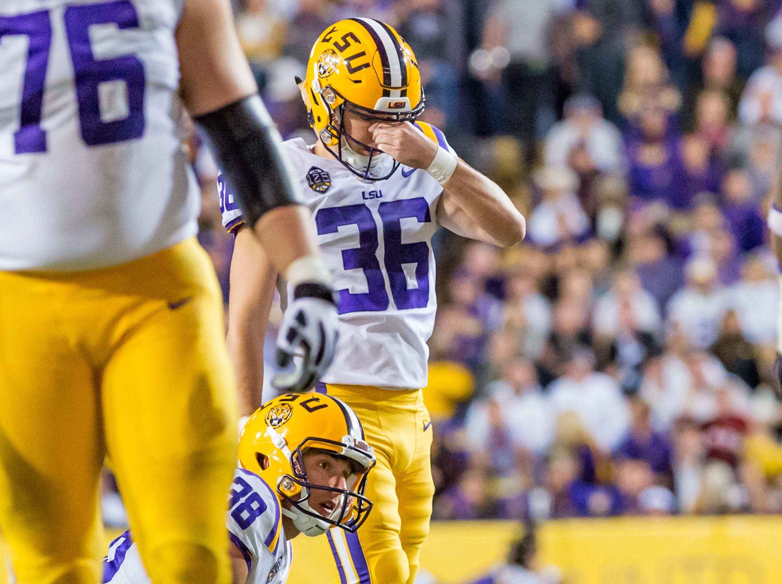 Tigers kicker Cole Tracy reacts after missing a field goal as The #4 LSU Tigers take on the #1 ranked Alabama Crimson Tide in Tiger Stadium. Saturday, Nov. 3, 2018.