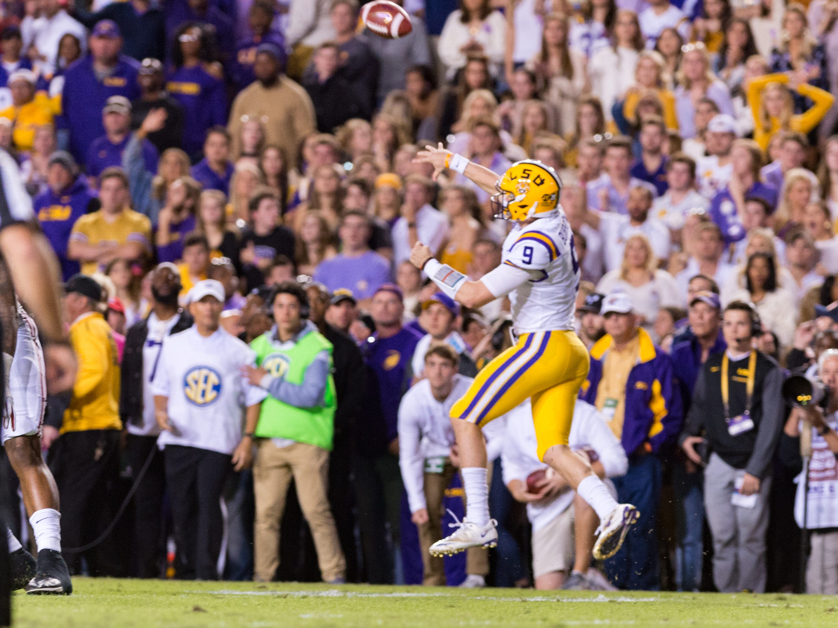 Tigers quarterback Joe Burrow throws a pass  as the No. 4-ranked LSU Tigers take on the No. 1  Alabama Crimson Tide in Tiger Stadium Saturday, Nov. 3, 2018.
