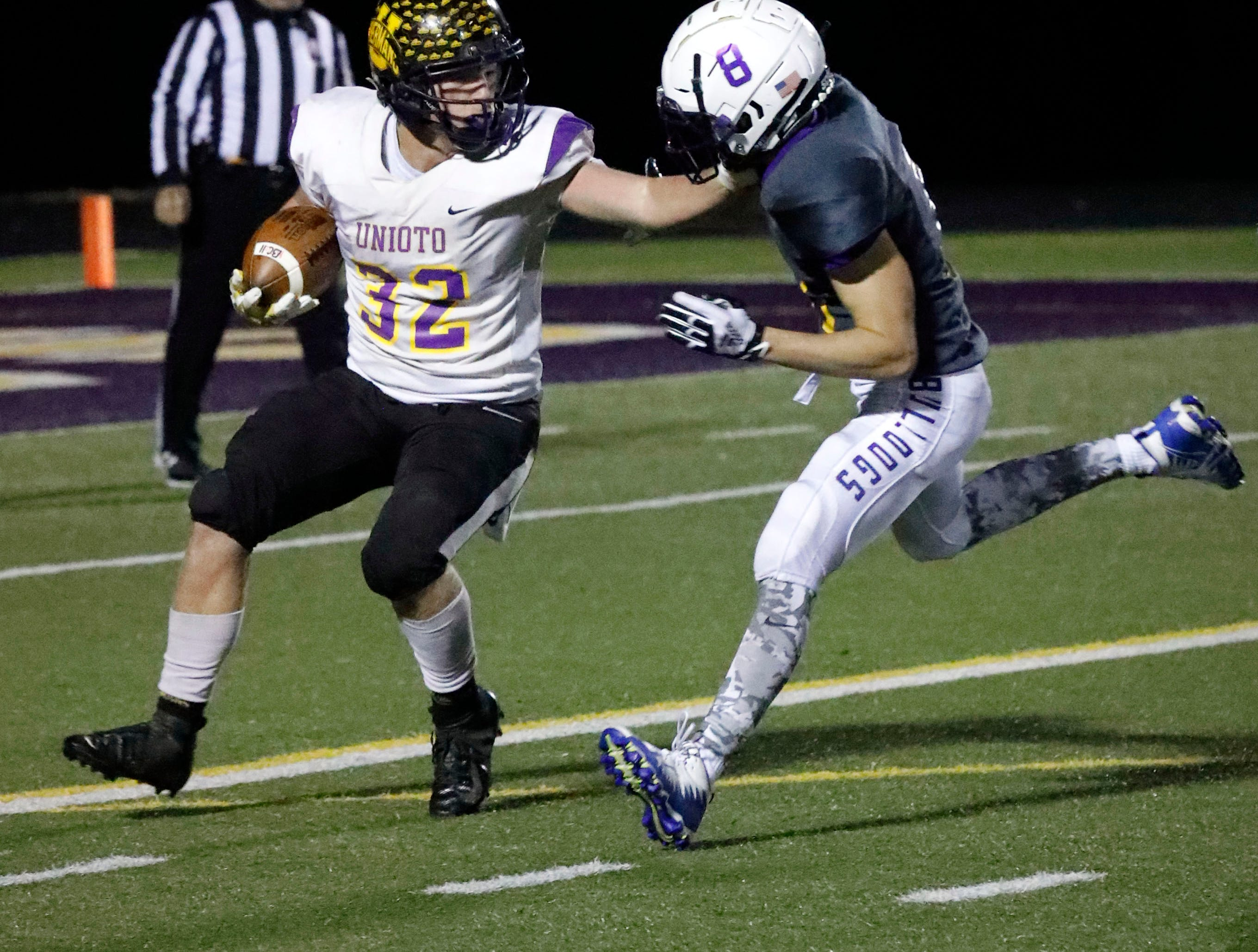 Bloom-Carroll defeated Unioto 38-7 in the first round of the playoffs Saturday night, Nov. 3, 2018, at Bloom-Carroll High School in Carroll.