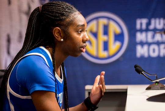UK guard Taylor Murray speaks at October's 2018 SEC media day.