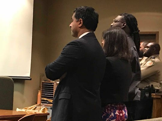 Tremaine Wilbourn stands with his legal team after being found guilty on Sunday of first-degree murder in the killing of MPD officer Sean Bolton in 2015. The state has asked for the death penalty. The sentencing hearing begins Sunday afternoon.