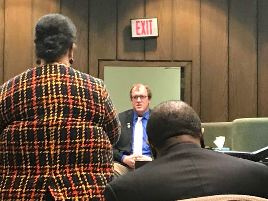 Brian Bolton, the brother of slain Memphis police officer Sean Bolton is questioned by prosecutor Leslie Byrd during a victim impact statement. Tremaine Wilbourn was found guilty of first-degree murder in Sean Bolton's death and the state is seeking the death penalty.