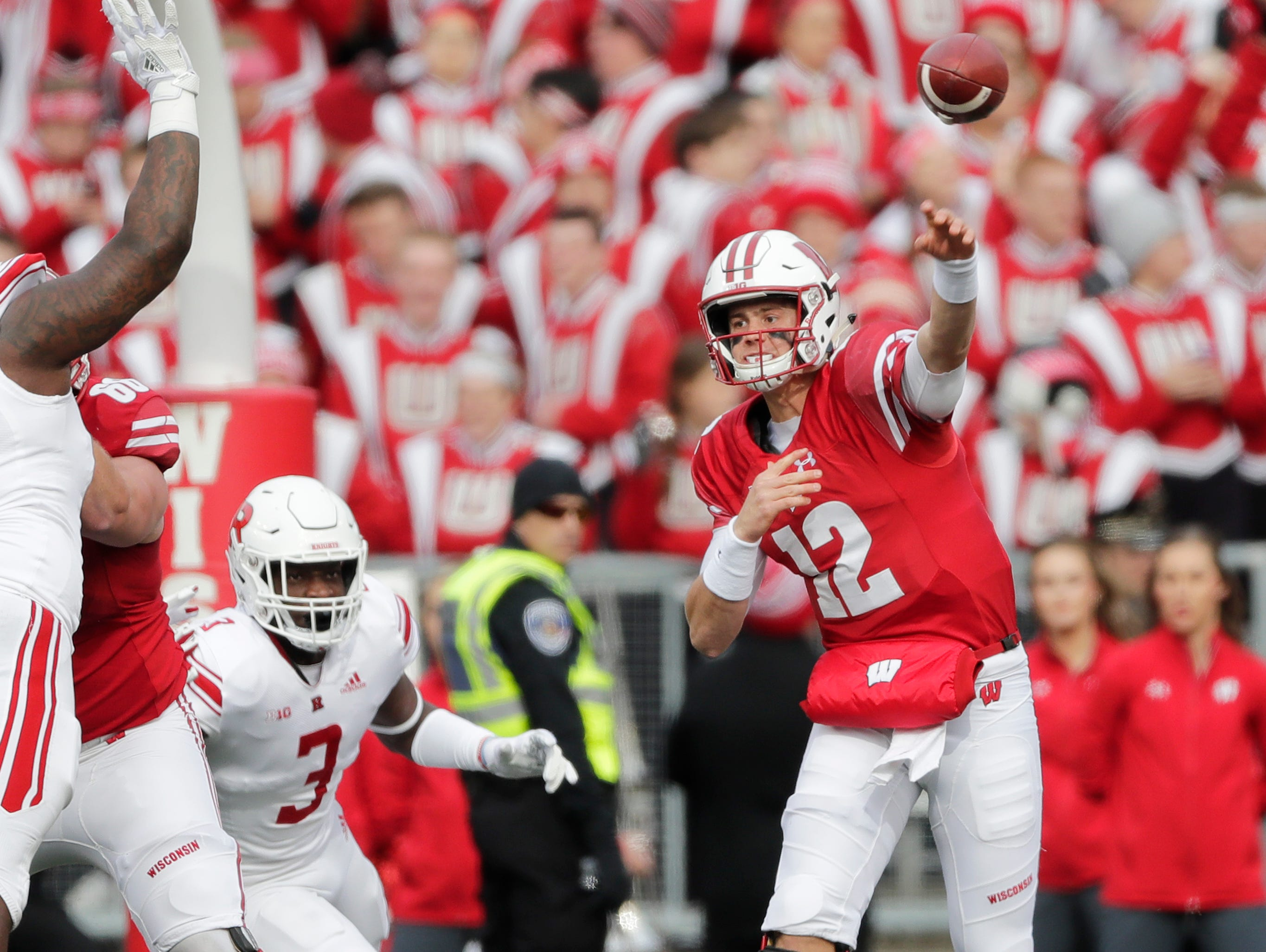 Wisconsin Badgers quarterback Alex Hornibrook (12) throws against the Rutgers Scarlet Knights in the first quarter of a Big Ten football game at Camp Randall Stadium on Saturday, November 3, 2018 in Madison, Wis.Adam Wesley/USA TODAY NETWORK-Wisconsin