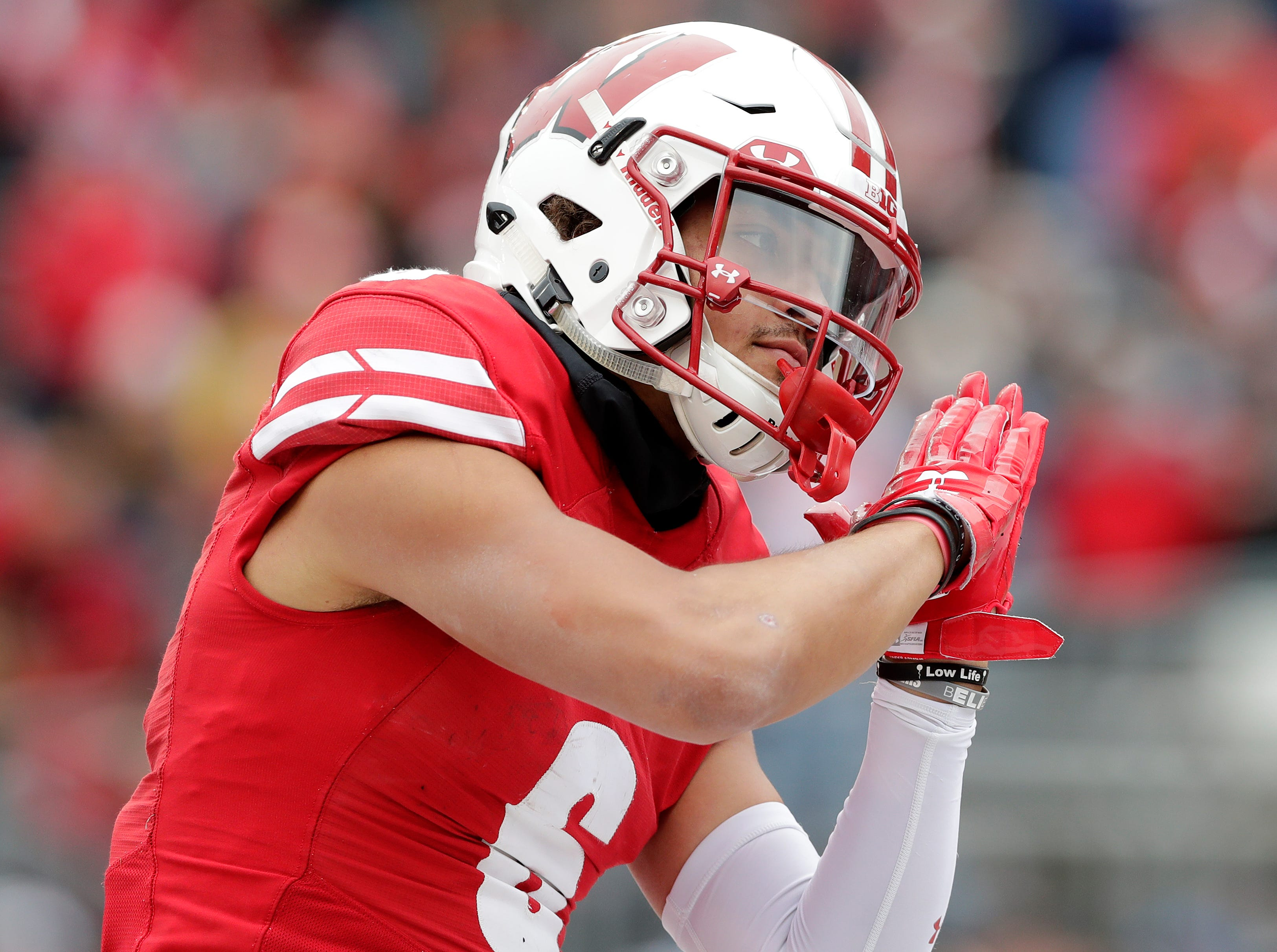 Wisconsin Badgers wide receiver Danny Davis III (6) celebrates after scoring a touchdown against the Rutgers Scarlet Knights in the fourth quarter of a Big Ten football game at Camp Randall Stadium on Saturday, November 3, 2018 in Madison, Wis.Adam Wesley/USA TODAY NETWORK-Wisconsin
