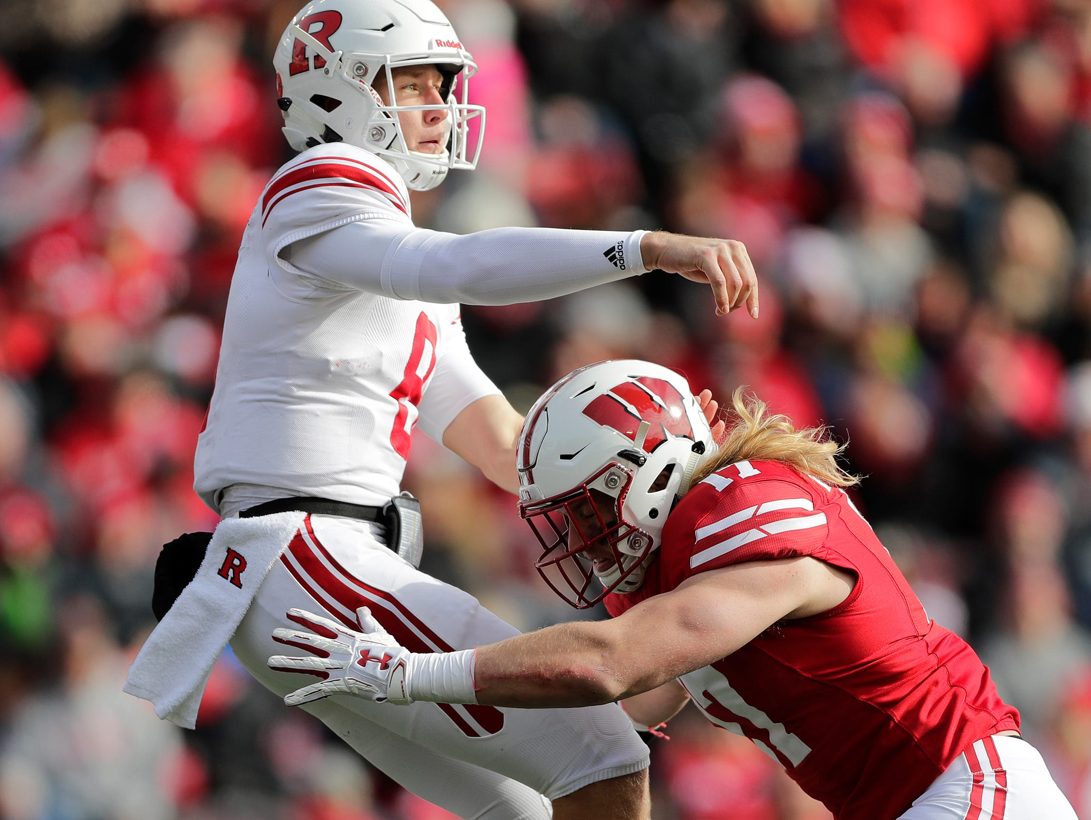 Wisconsin Badgers linebacker Andrew Van Ginkel (17) pressures Rutgers Scarlet Knights quarterback Artur Sitkowski (8) in the third quarter of a Big Ten football game at Camp Randall Stadium on Saturday, November 3, 2018 in Madison, Wis.Adam Wesley/USA TODAY NETWORK-Wisconsin