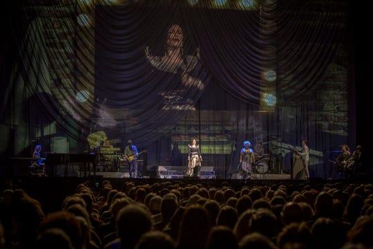 Idina Menzel sings at Fiserv Forum on Nov. 3, 2018. Josh Groban headlined the concert at the new Milwaukee Bucks arena.
