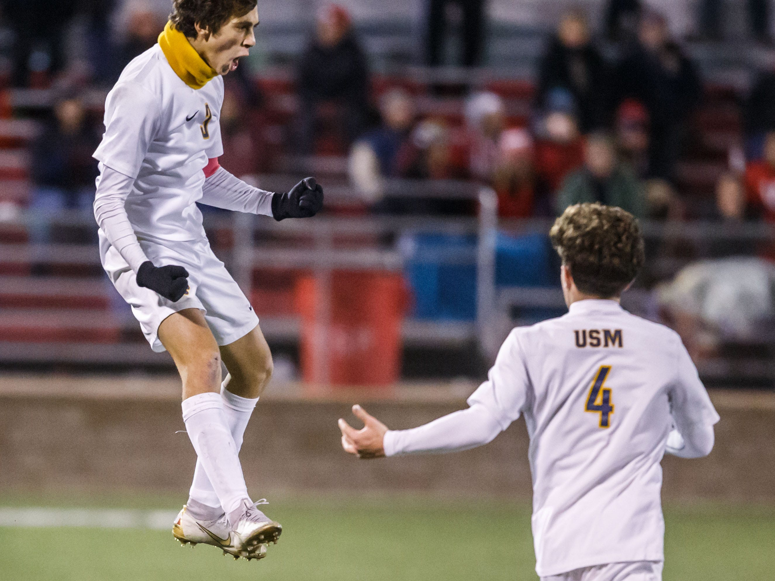 University School of Milwaukee senior Matias Dermond (left) celebrates a goal during the WIAA Division 4 state soccer championship against Amery at Uihlein Soccer Park in Milwaukee on Saturday, Nov. 3, 2018.