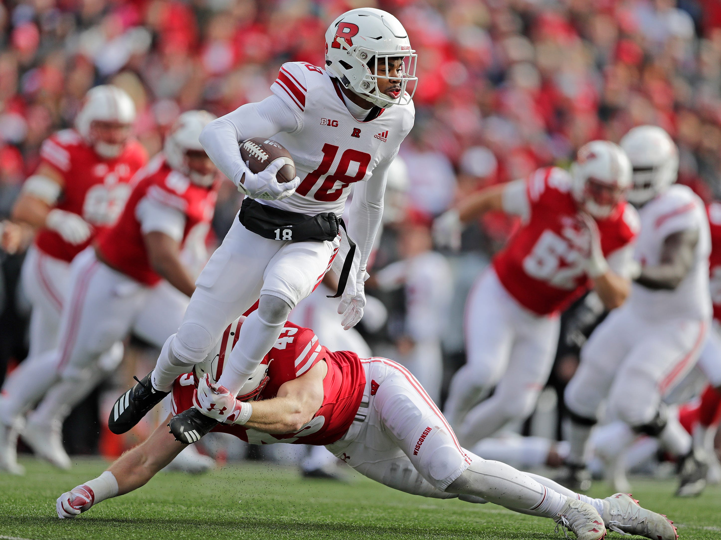 Wisconsin Badgers linebacker Ryan Connelly (43) tackles Rutgers Scarlet Knights wide receiver Bo Melton (18) in the third quarter of a Big Ten football game at Camp Randall Stadium on Saturday, November 3, 2018 in Madison, Wis.Adam Wesley/USA TODAY NETWORK-Wisconsin