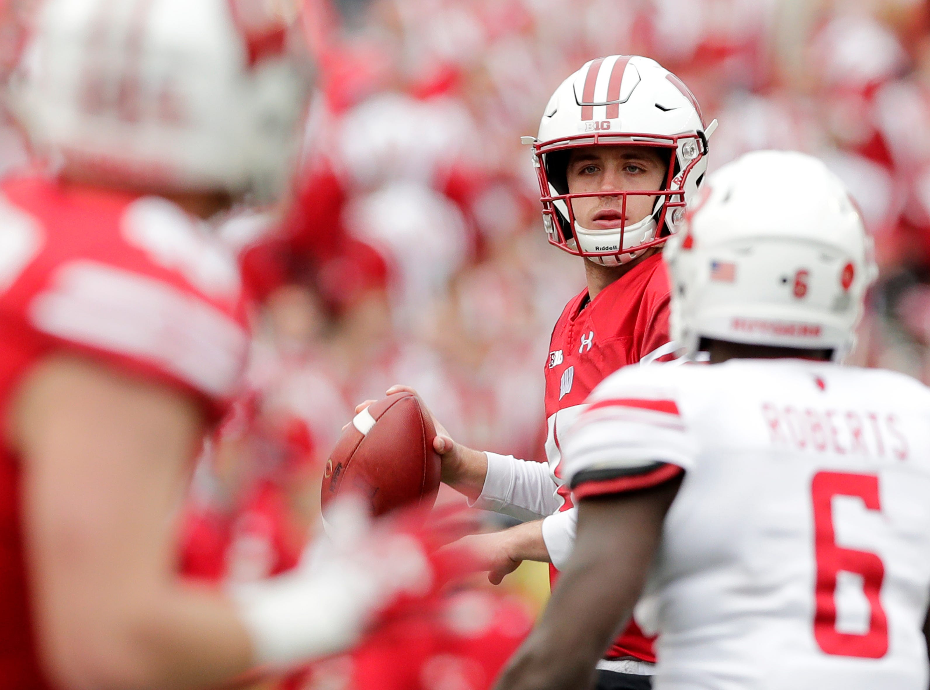Wisconsin Badgers quarterback Jack Coan (17) scrambles in the fourth quarter against the Rutgers Scarlet Knights in a Big Ten football game at Camp Randall Stadium on Saturday, November 3, 2018 in Madison, Wis.Adam Wesley/USA TODAY NETWORK-Wisconsin