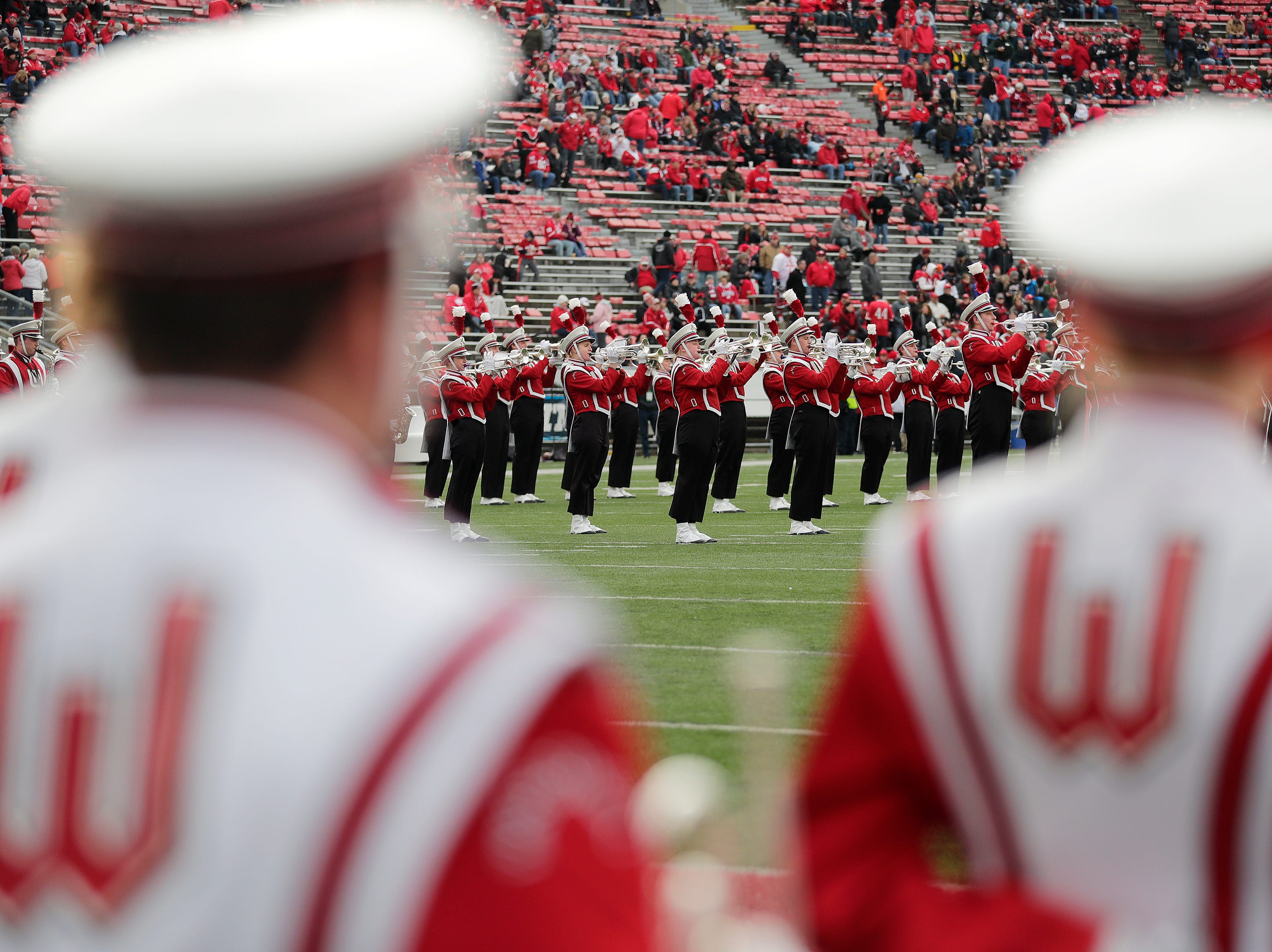 The Wisconsin marching band performs before a Big Ten football game at Camp Randall Stadium on Saturday, November 3, 2018 in Madison, Wis.Adam Wesley/USA TODAY NETWORK-Wisconsin