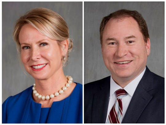 This combination of undated, file photos provided by the Arkansas Secretary of State's office shows from left, Arkansas Supreme Court Justice Courtney Goodson and David Sterling, her opponent for a position on the Arkansas Supreme Court in the November 2018 election.