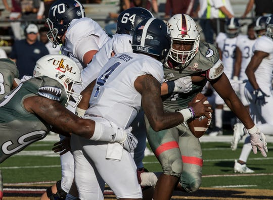 ULM held Georgia Southern to 138 yards rushing and collected five sacks without two key players at linebacker.