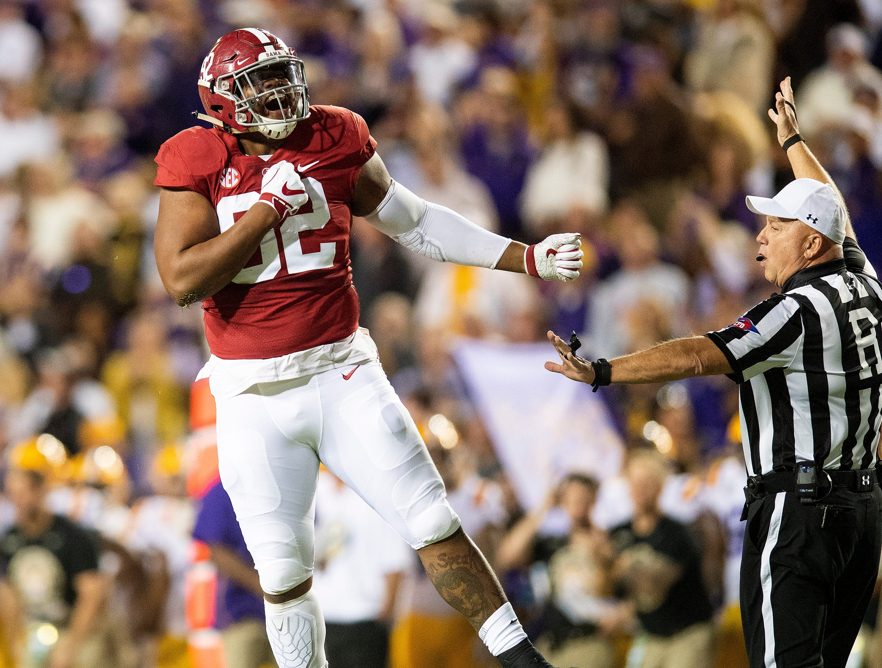 Alabama defensive lineman Quinnen Williams (92) celebrates a sack against Louisiana State University in first half action at Tiger Stadium in Baton Rouge, La., on Saturday November 3, 2018.
