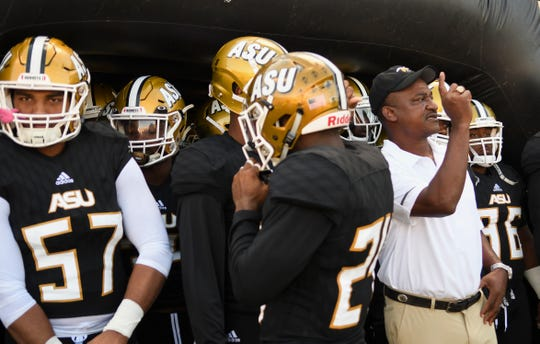 Alabama State head coach Donald Hill-Eley gets the go ahead to take the field to play Texas Southern Saturday, Nov. 3, 2018, at Alabama State University in Montgomery, Ala.