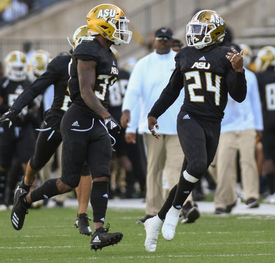 Alabama State defensive back Joshua Hill (24) celebrates an interception that prevented a Texas Southern touchdown Saturday, Nov. 3, 2018, at Alabama State University in Montgomery, Ala.