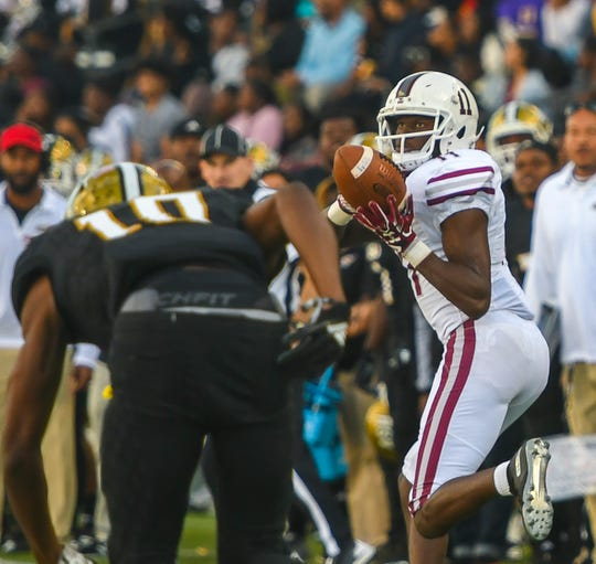 Texas Southern wide receiver Tren'Davian Dickson (11) hauls in a pass Saturday, Nov. 3, 2018, at Alabama State University in Montgomery, Ala.
