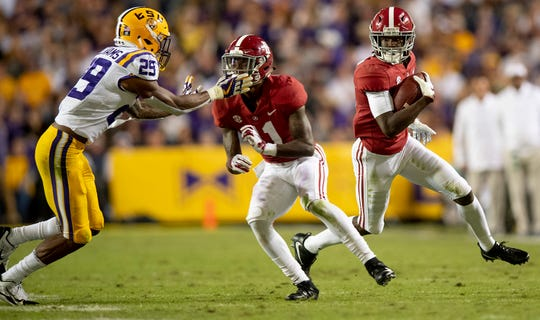 Alabama wide receiver Jerry Jeudy (4) against Louisiana State University in first half action at Tiger Stadium in Baton Rouge, La., on Saturday November 3, 2018.