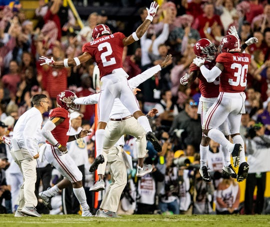Alabama celebrates after LSU missed a field goal late in second half action at Tiger Stadium in Baton Rouge, La., on Saturday November 3, 2018.