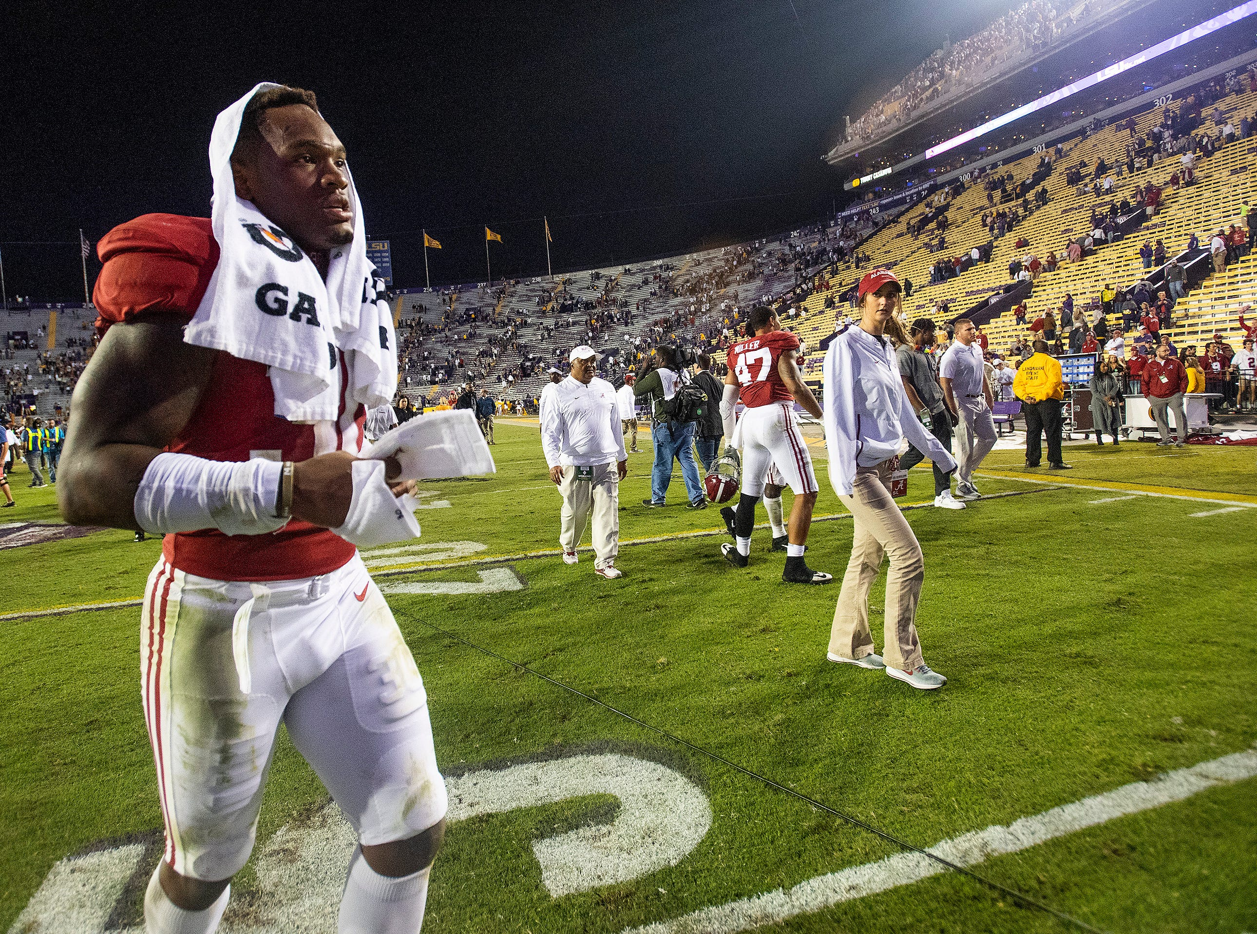 Alabama linebacker Mack Wilson (30) runs off the field after defeating LSU at Tiger Stadium in Baton Rouge, La., on Saturday November 3, 2018.