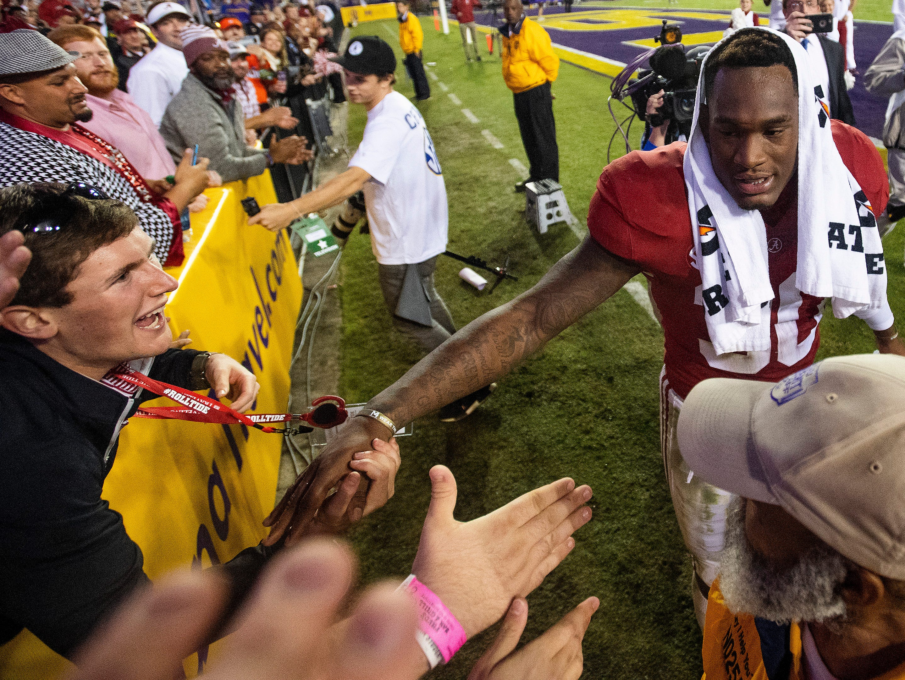 Alabama linebacker Mack Wilson (30) greets fans after defeating LSU at Tiger Stadium in Baton Rouge, La., on Saturday November 3, 2018.